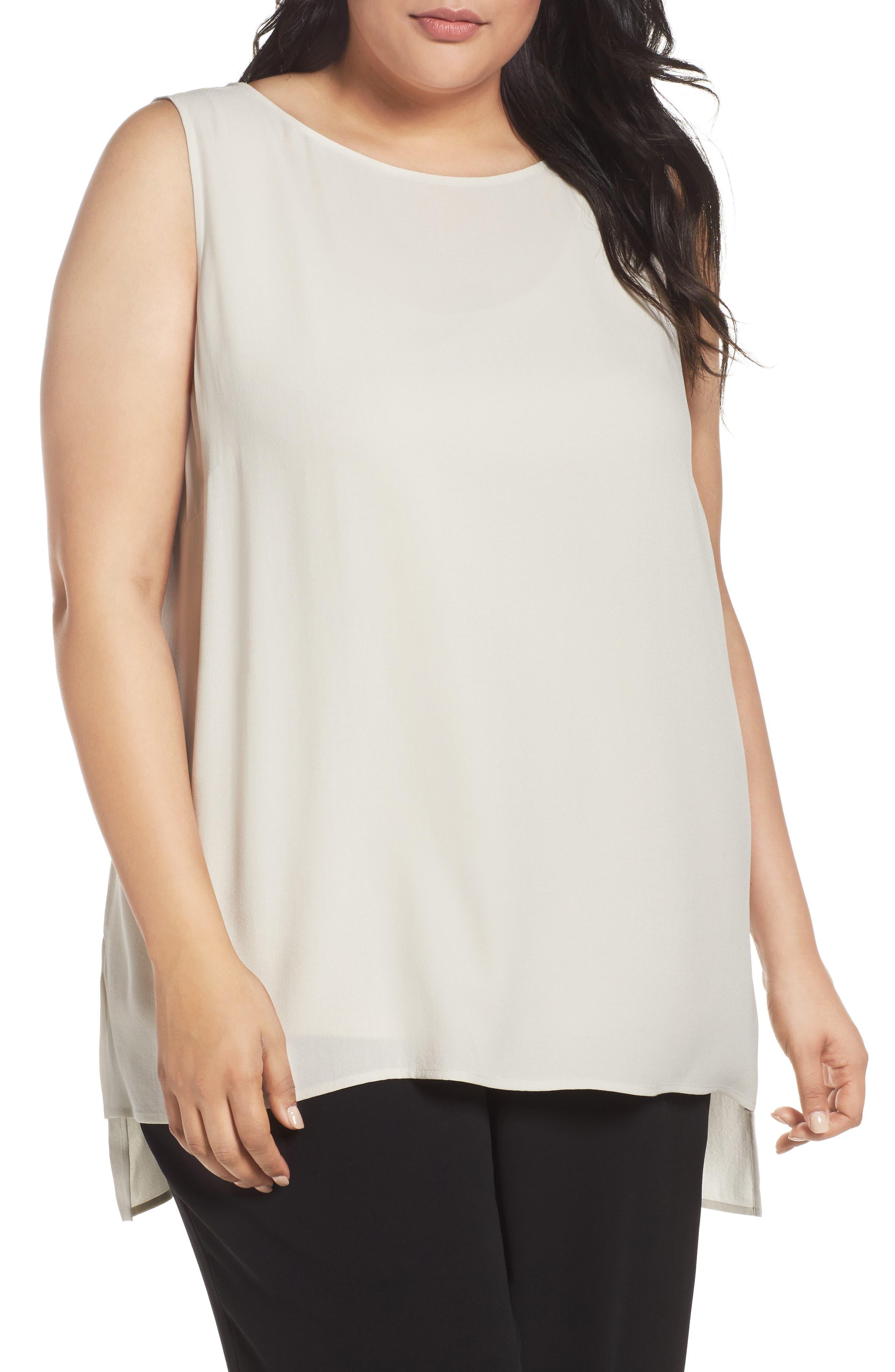Eileen Fisher Silk Georgette Crepe Top (Plus Size)