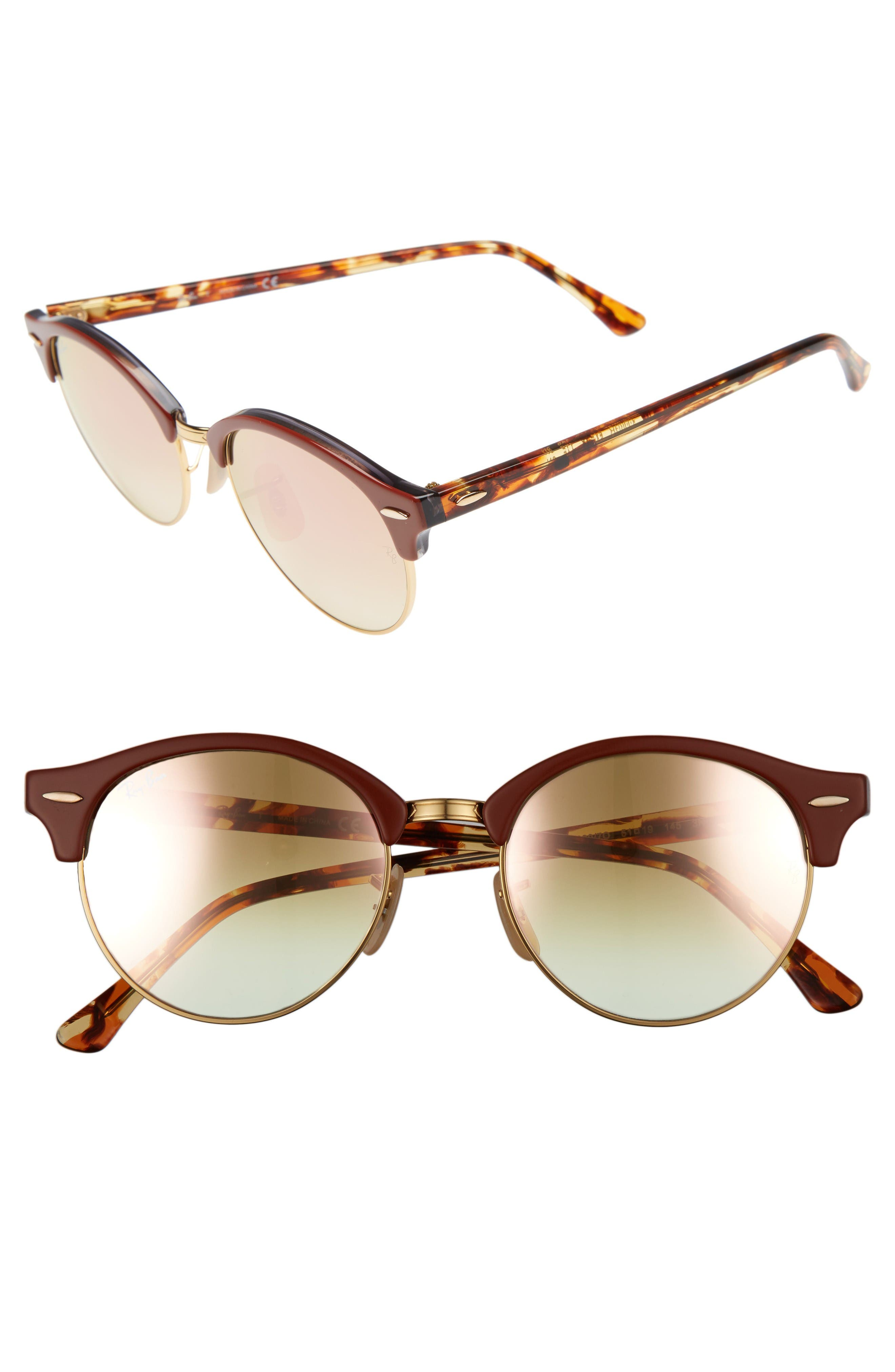 Clubround 51mm Round Sunglasses,                             Main thumbnail 1, color,                             Gold