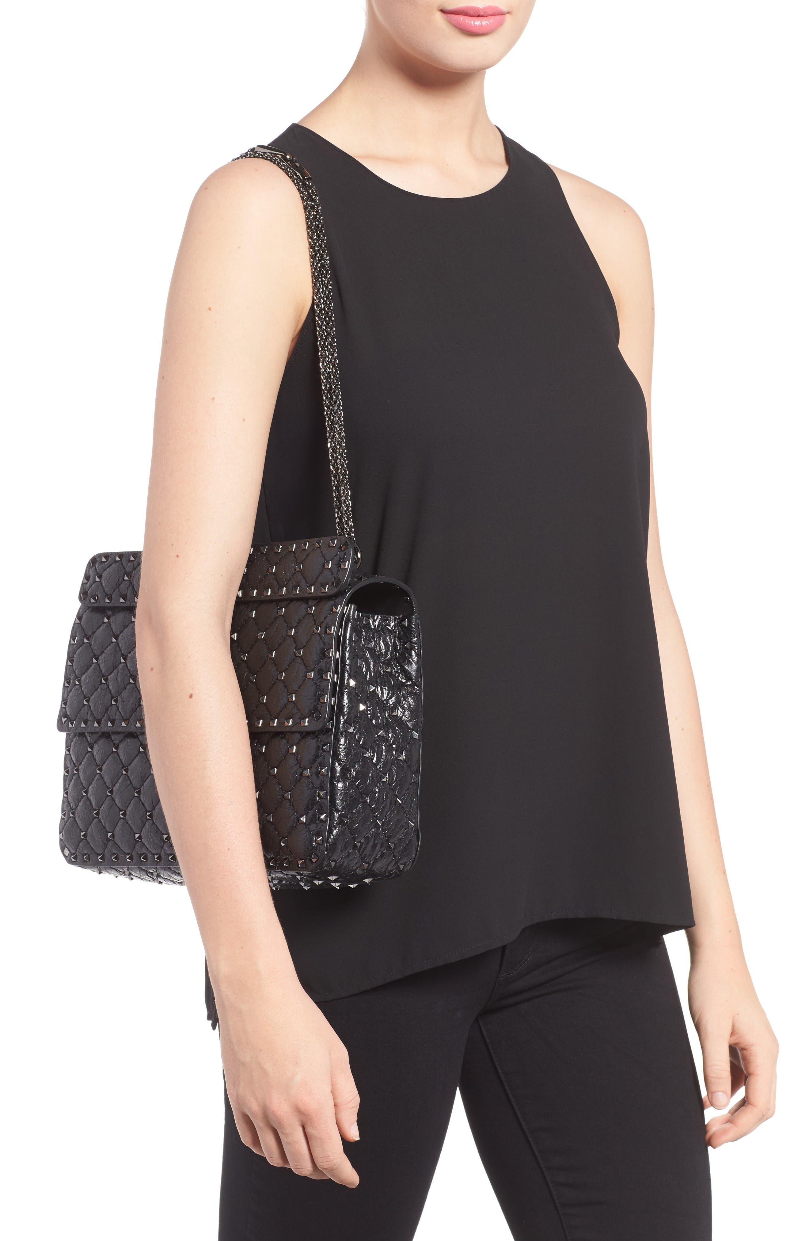 Rockstud Spike Large Shoulder Bag,                             Alternate thumbnail 2, color,                             Black