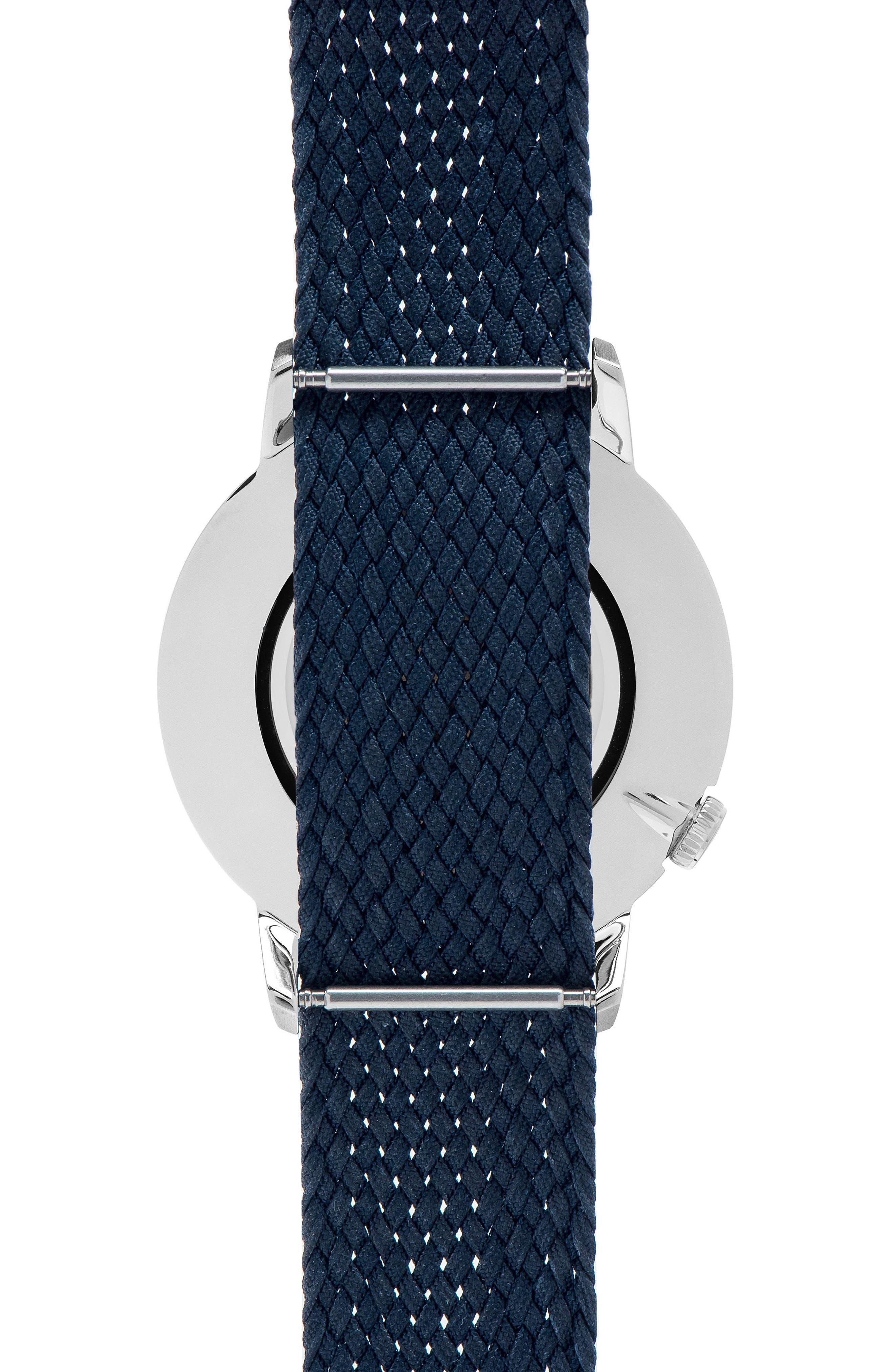 Nylon Strap Watch, 40mm,                             Alternate thumbnail 3, color,                             Navy/ Navy