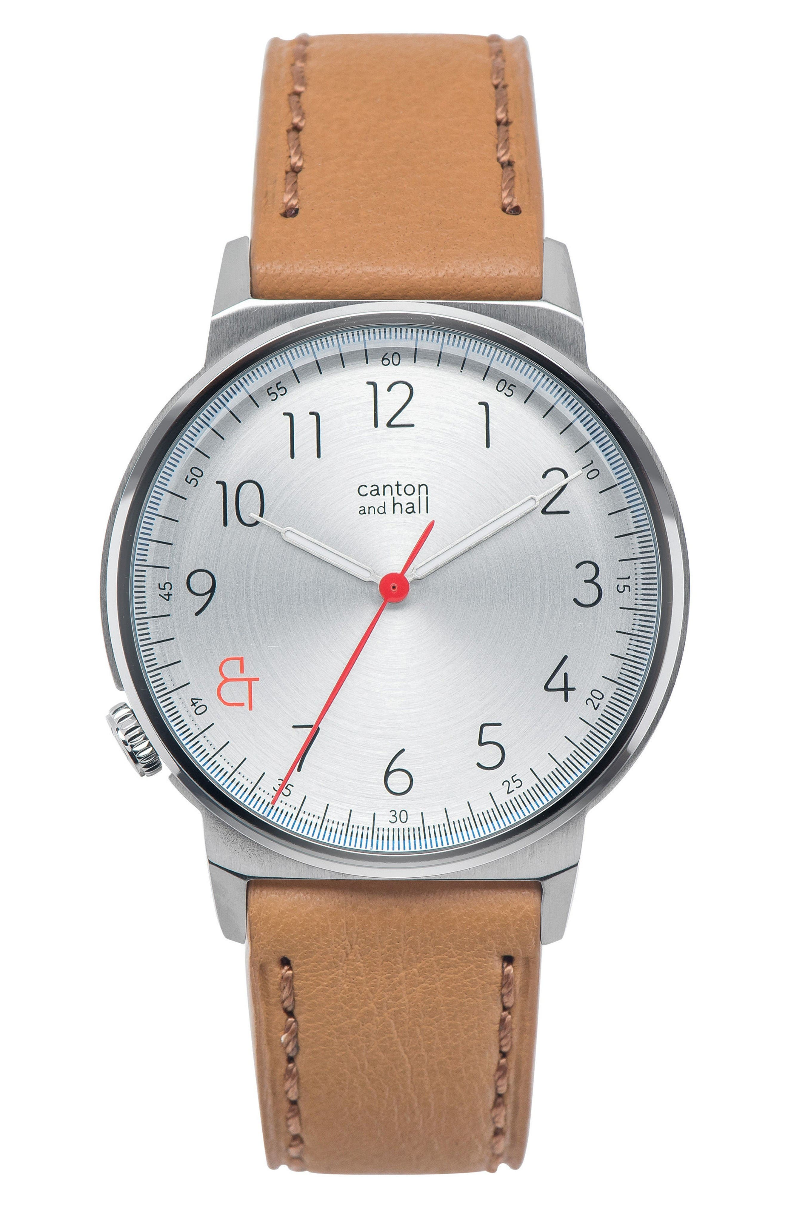 Canton and Hall Leather Strap Watch, 40mm