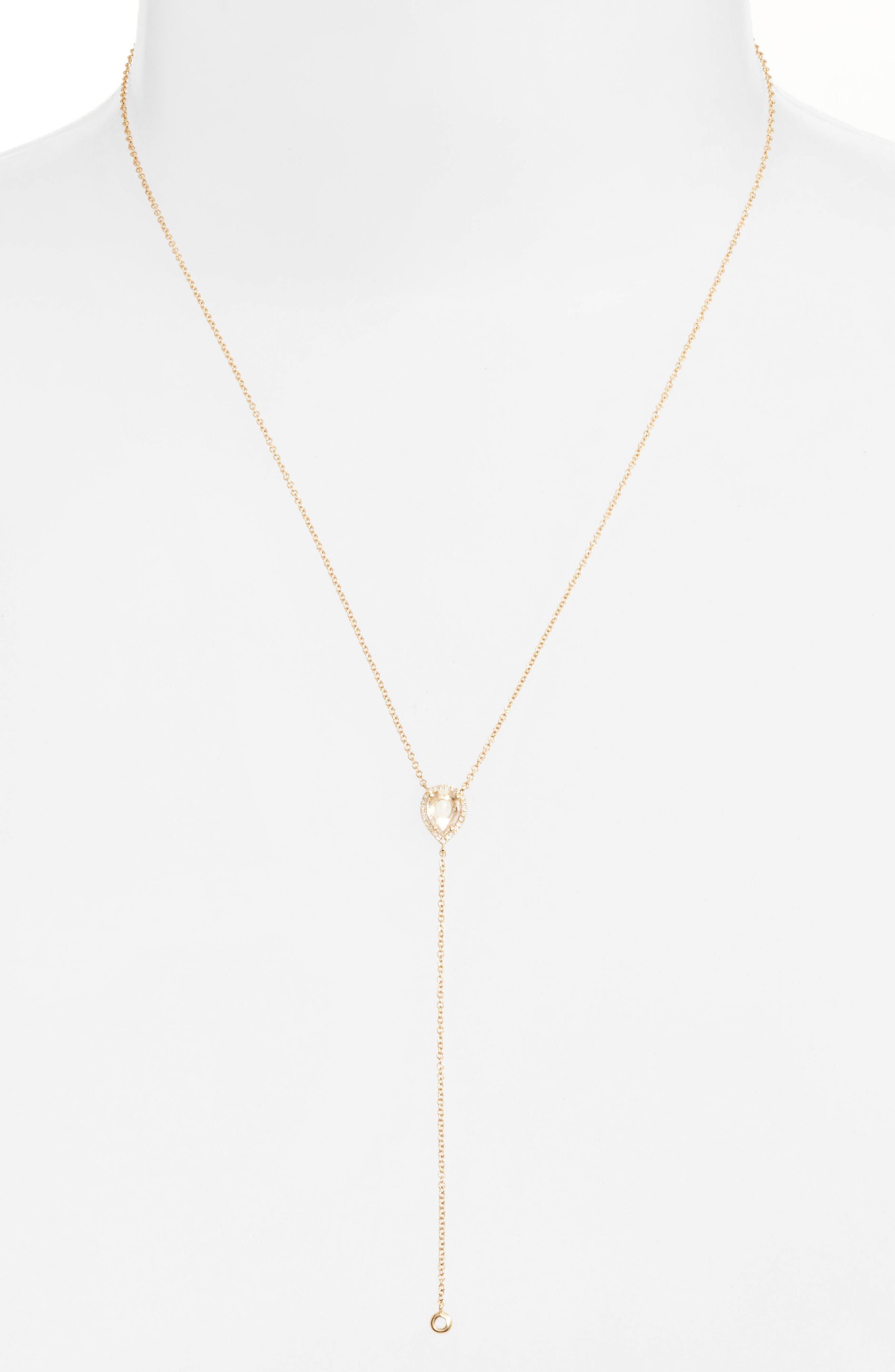 Alternate Image 2  - EF COLLECTION Teardrop Diamond Y-Necklace
