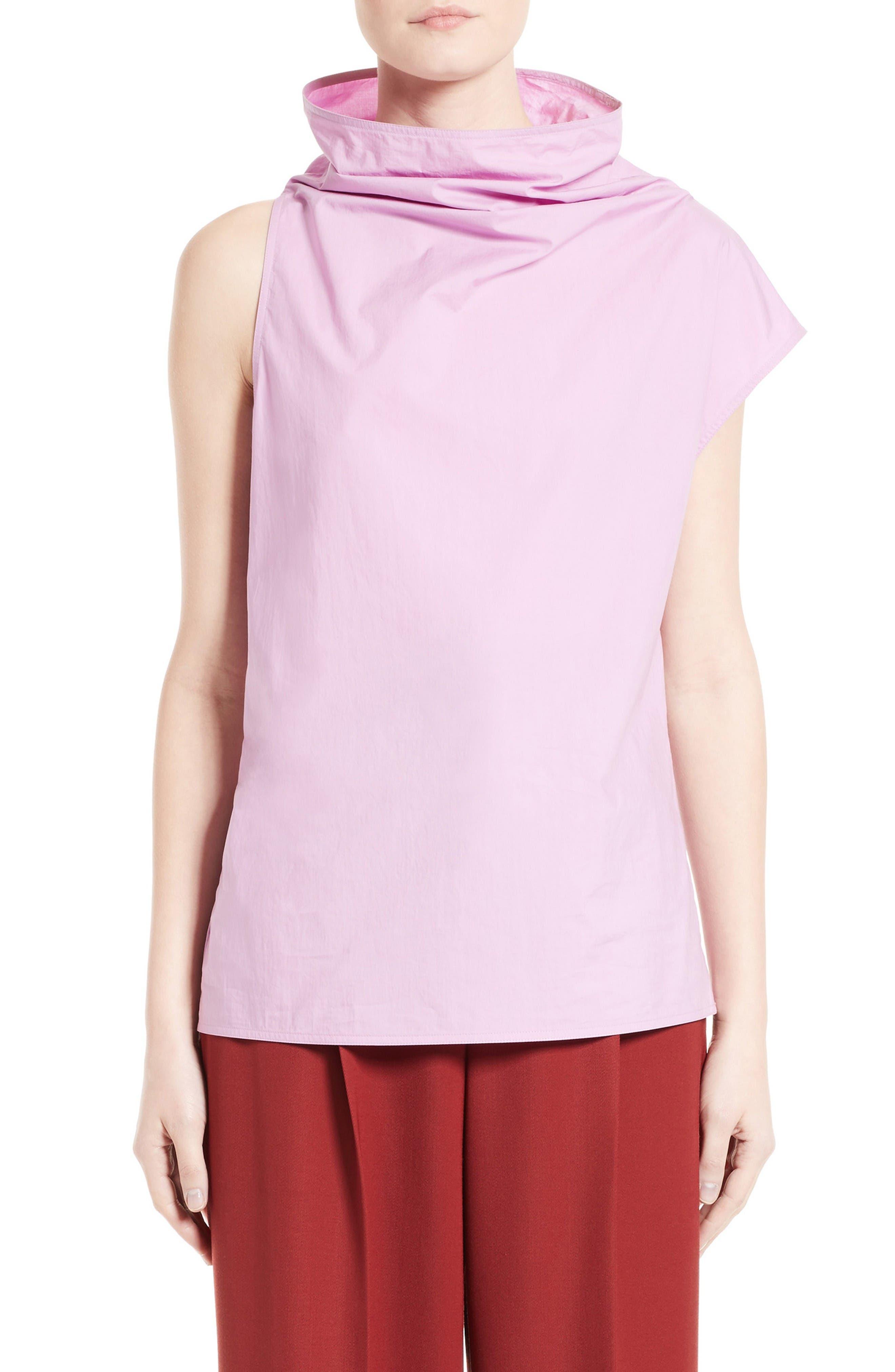 Poplin Funnel Neck Top,                         Main,                         color, Soft Pink