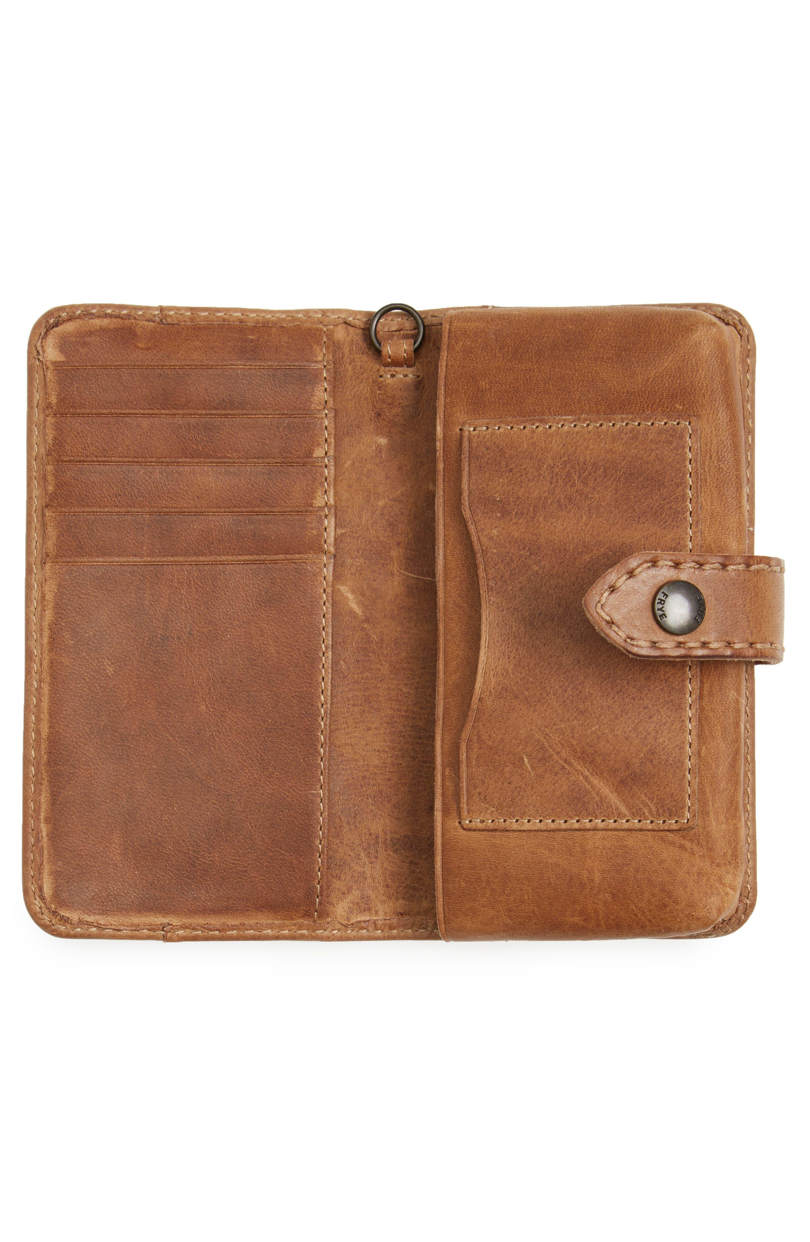 'Melissa' Leather Phone Wallet,                             Alternate thumbnail 2, color,                             Beige