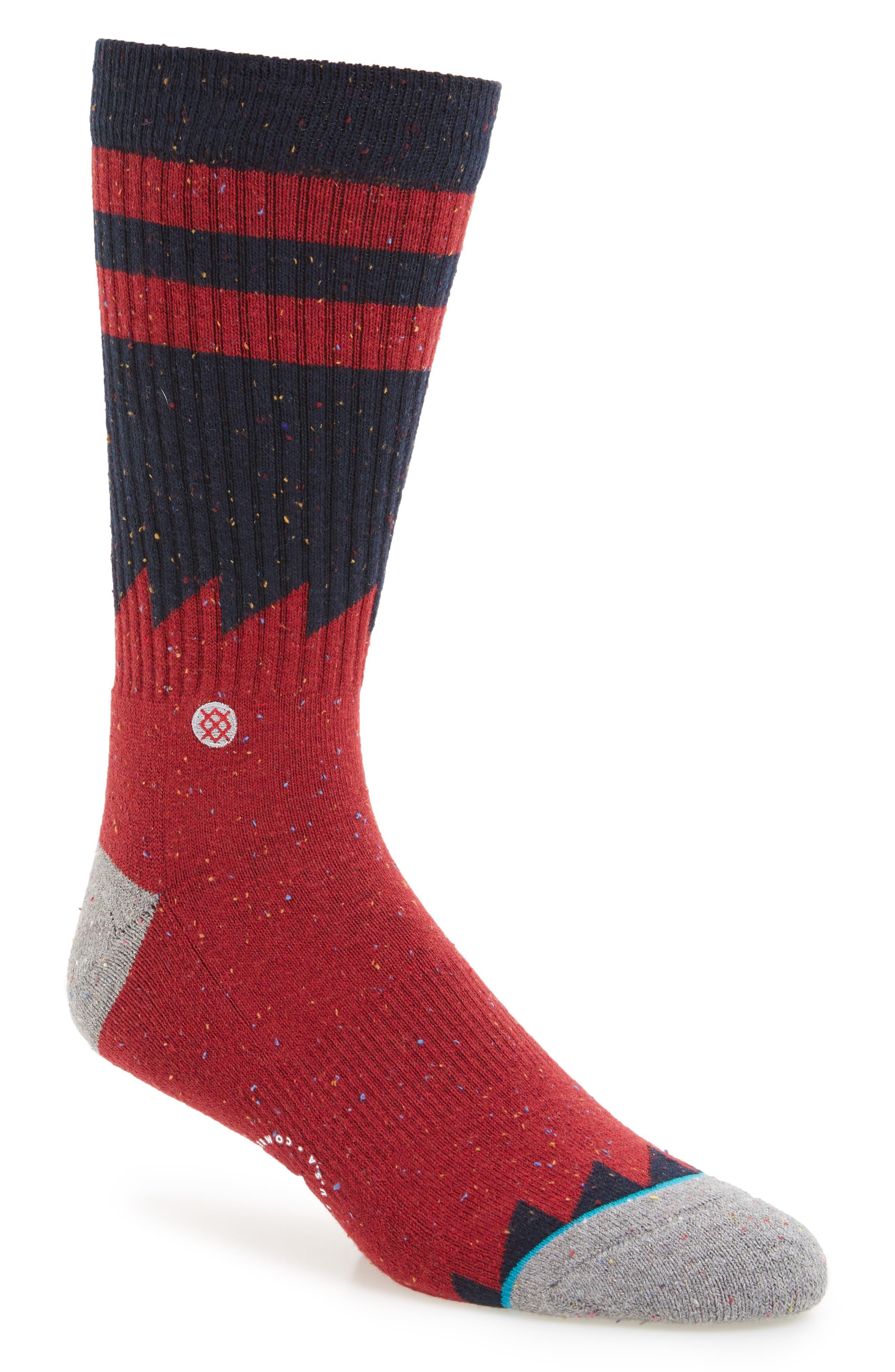 Lopsided Stripe Socks,                             Main thumbnail 1, color,                             Red