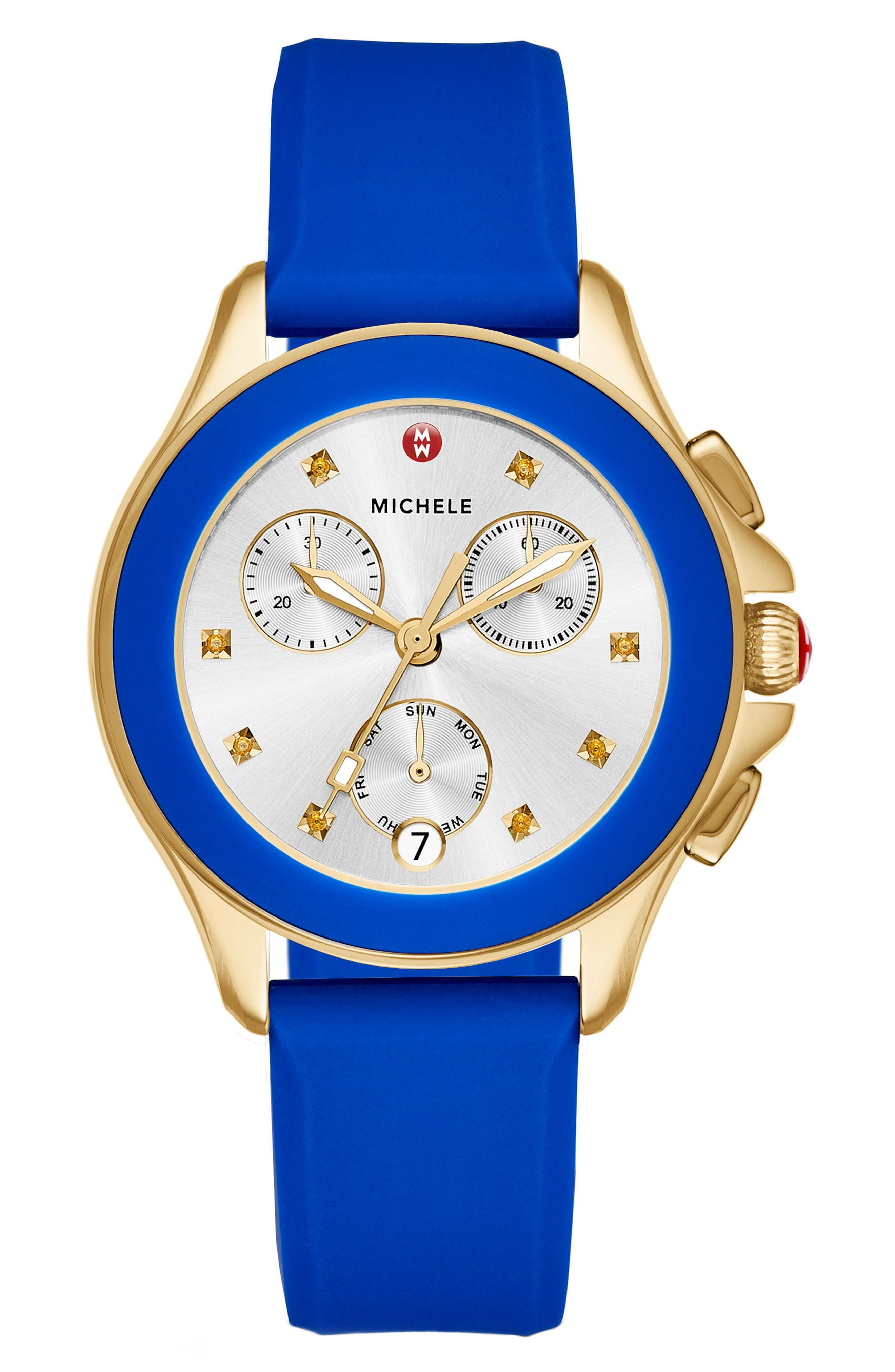 Cape Chronograph Silicone Strap Watch, 34mm,                         Main,                         color, Cobalt/ Gold