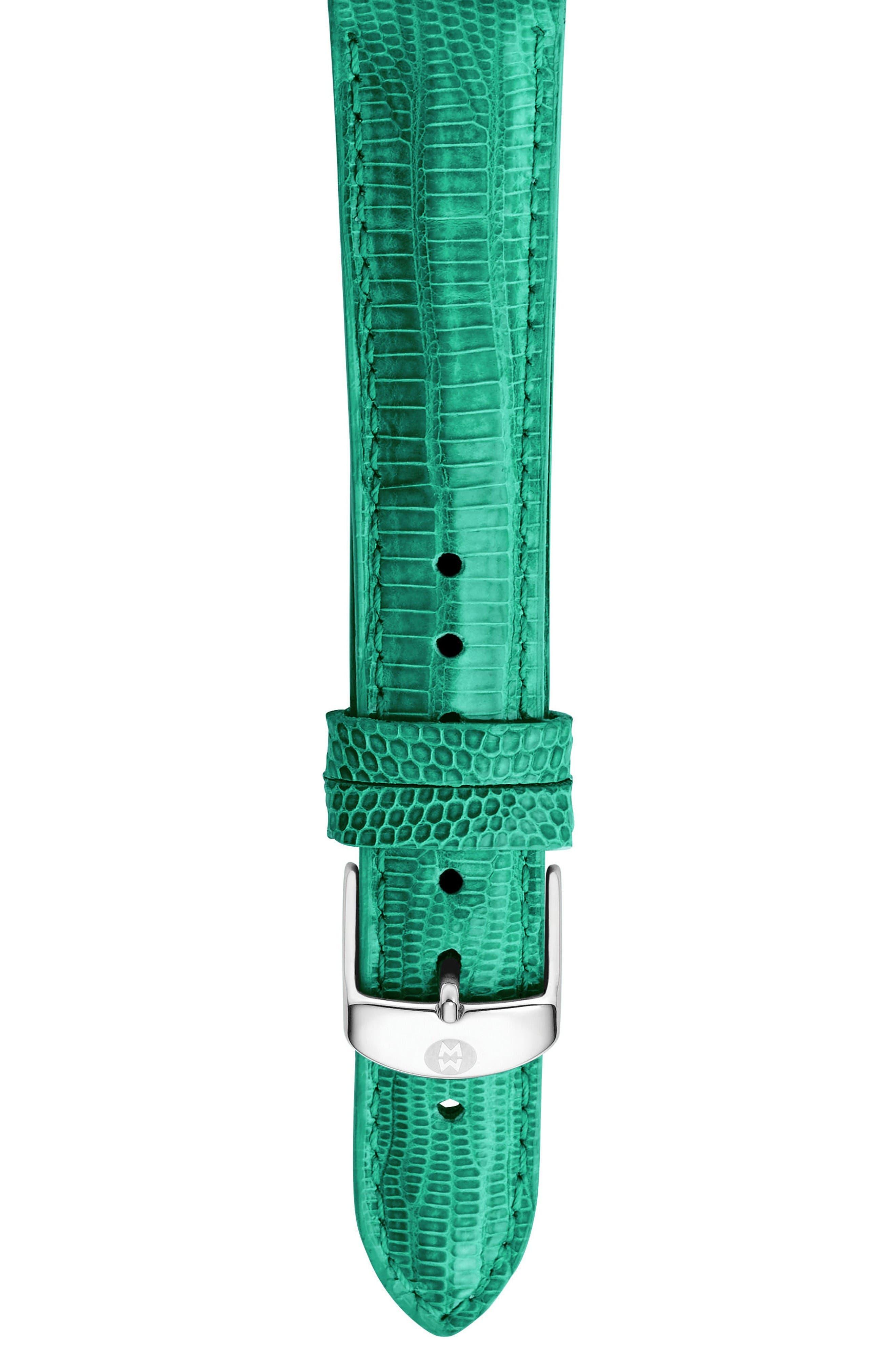 Main Image - MICHELE 18mm Lizardskin Watch Strap