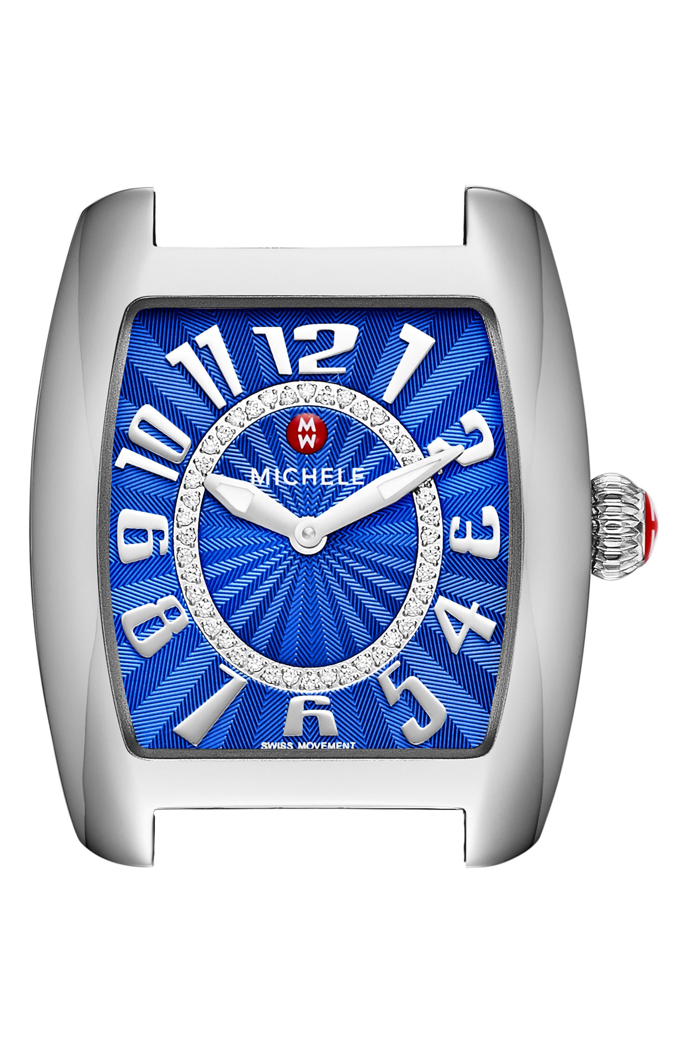 Urban Mini Diamond Dial Watch Case, 29mm x 30mm,                         Main,                         color, Silver/ Cobalt/ Silver