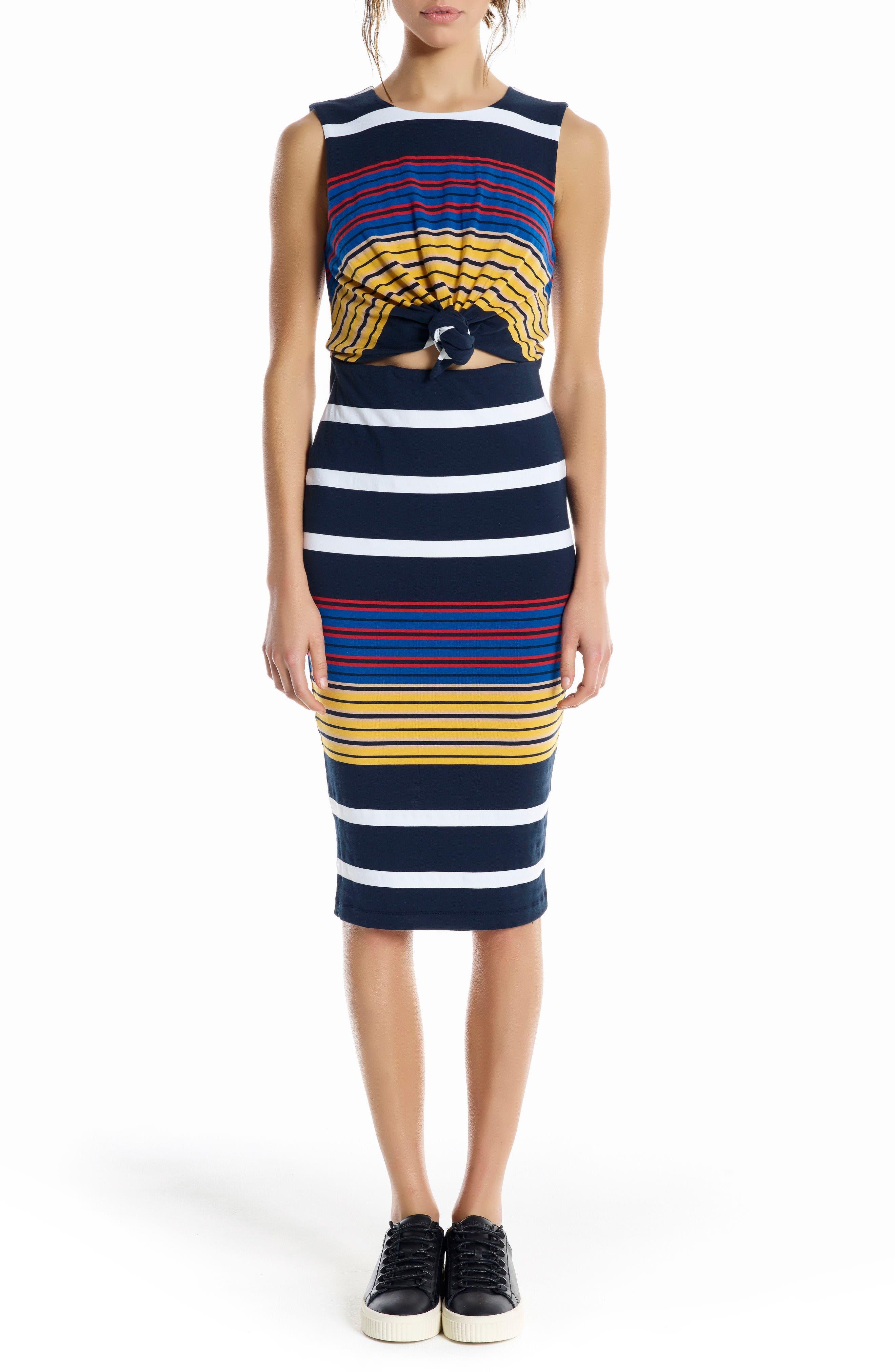 Main Image - KENDELL + KYLIE Stripe Midi Dress