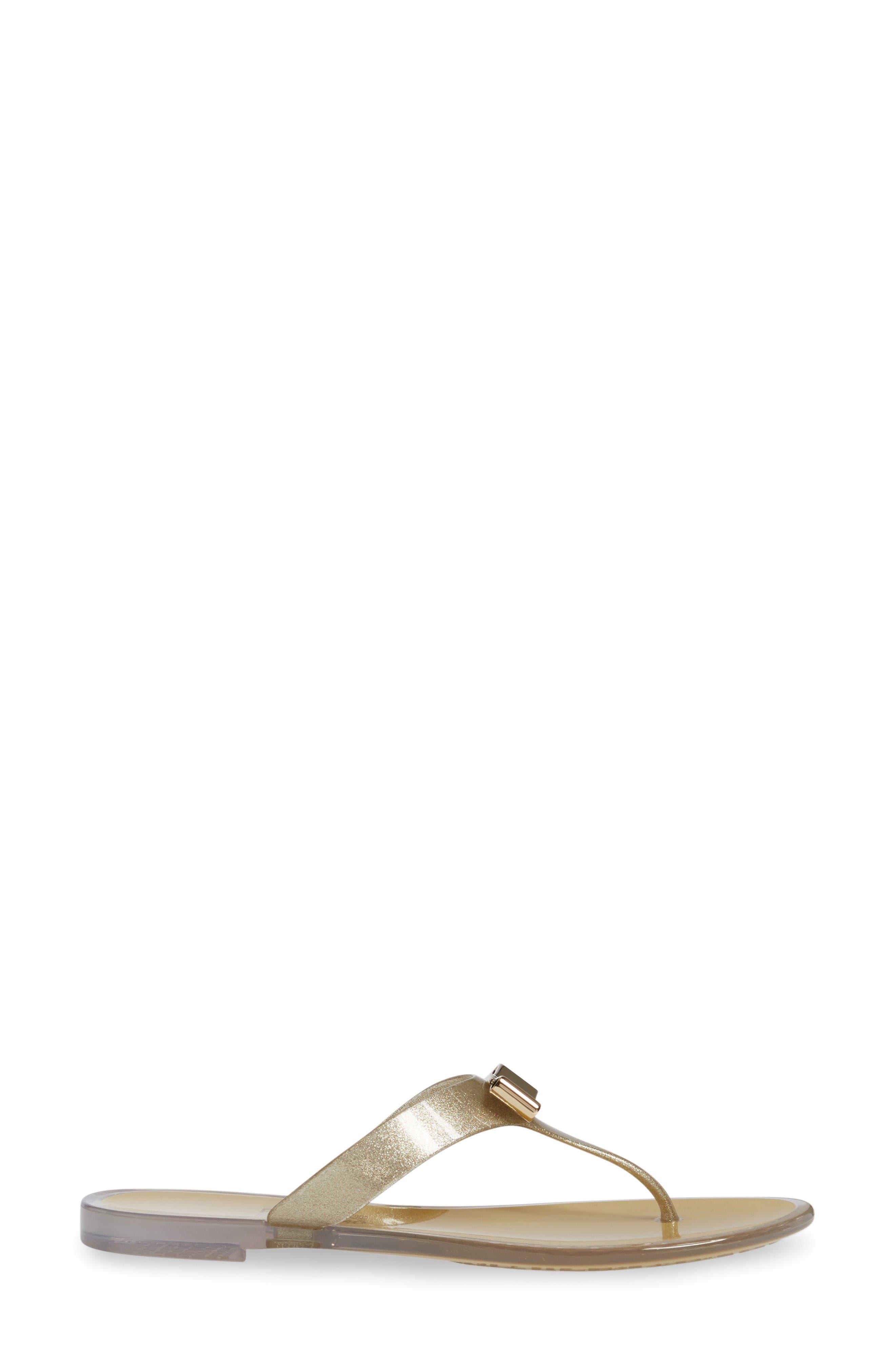 Jelly Flat Bow Sandal,                             Alternate thumbnail 4, color,                             Beige Glitter Pvc
