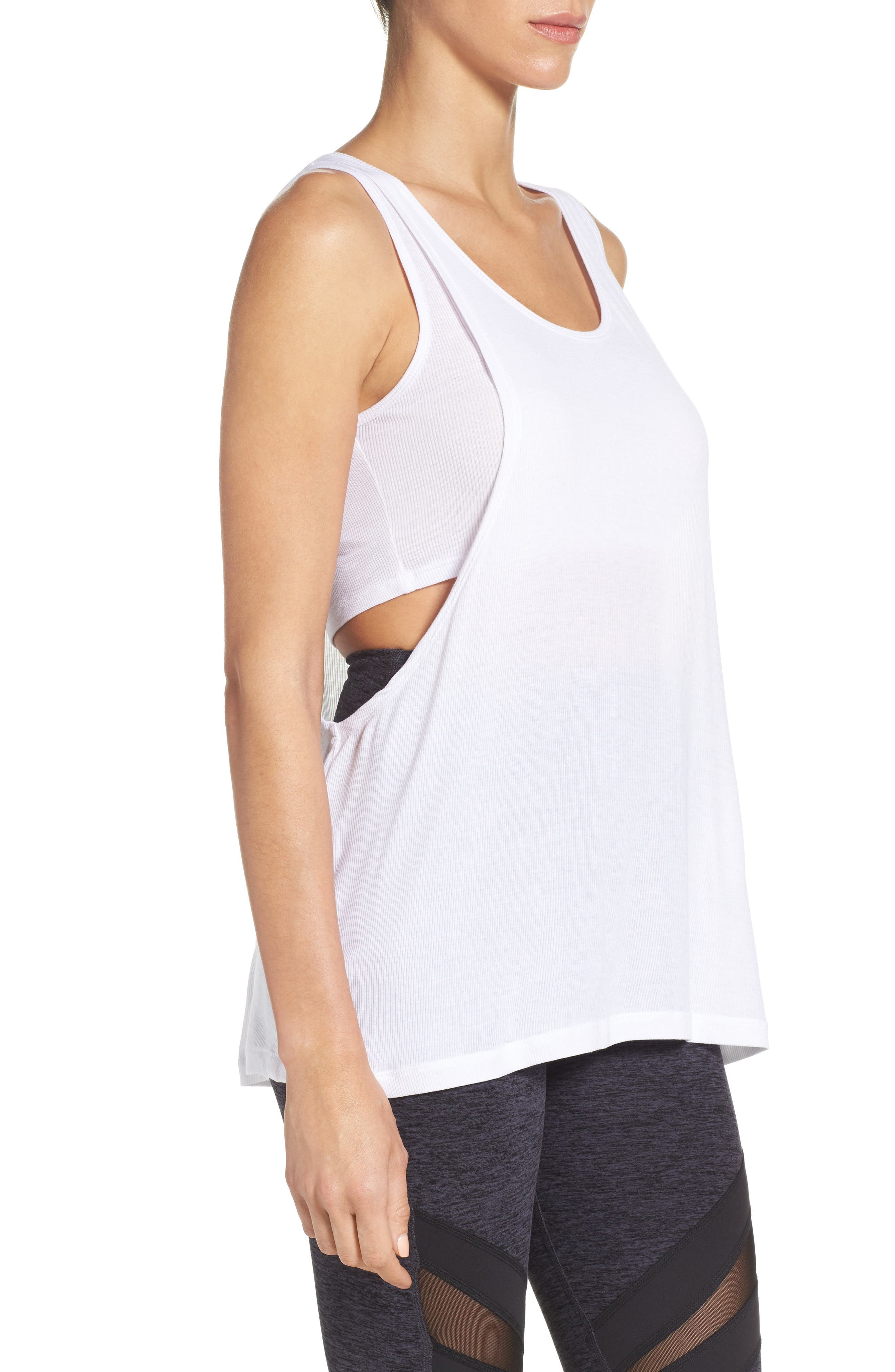 On & Off Ribbed Double LayerTank,                             Alternate thumbnail 3, color,                             White