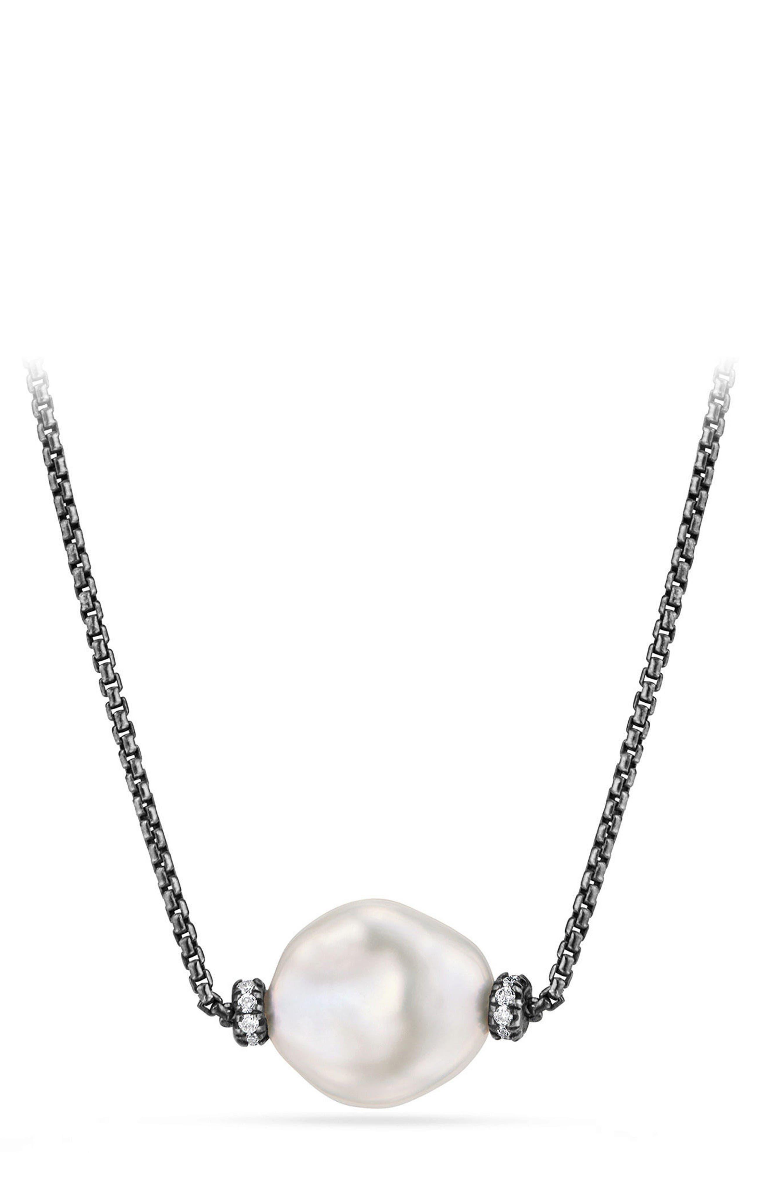 Solari Pearl & Diamond Station Necklace,                         Main,                         color, Silver/ Pearl