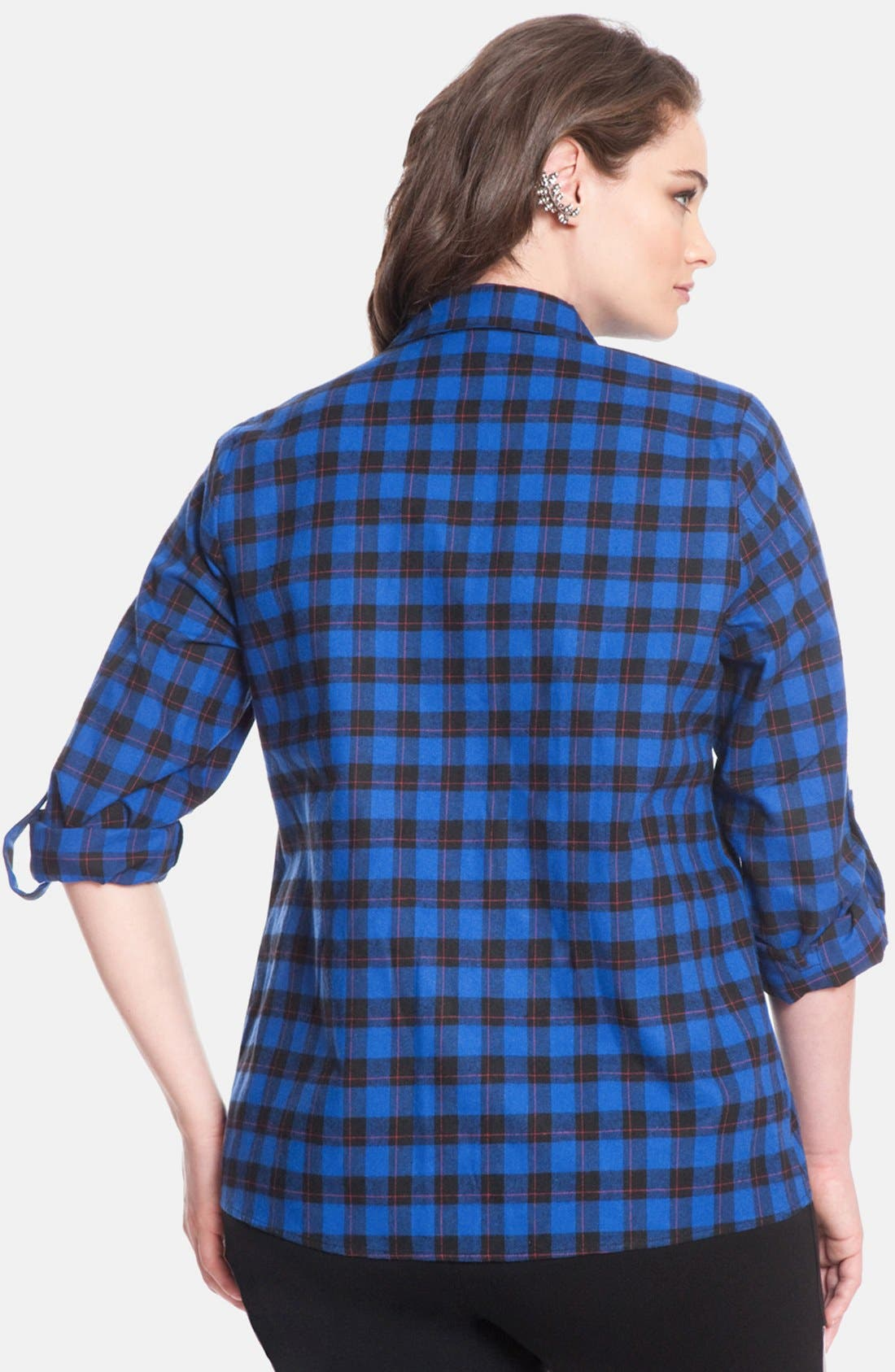 Alternate Image 2  - ELOQUII Plaid Cotton Flannel Shirt (Plus Size)