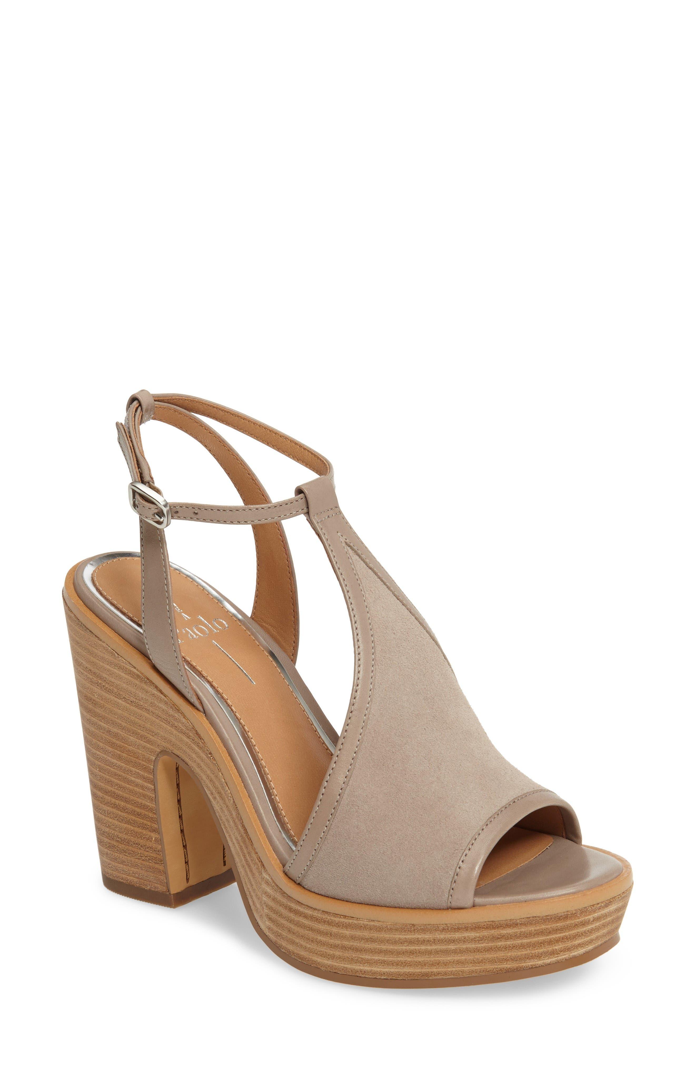 India T-Strap Platform Sandal,                             Main thumbnail 1, color,                             Rock Suede