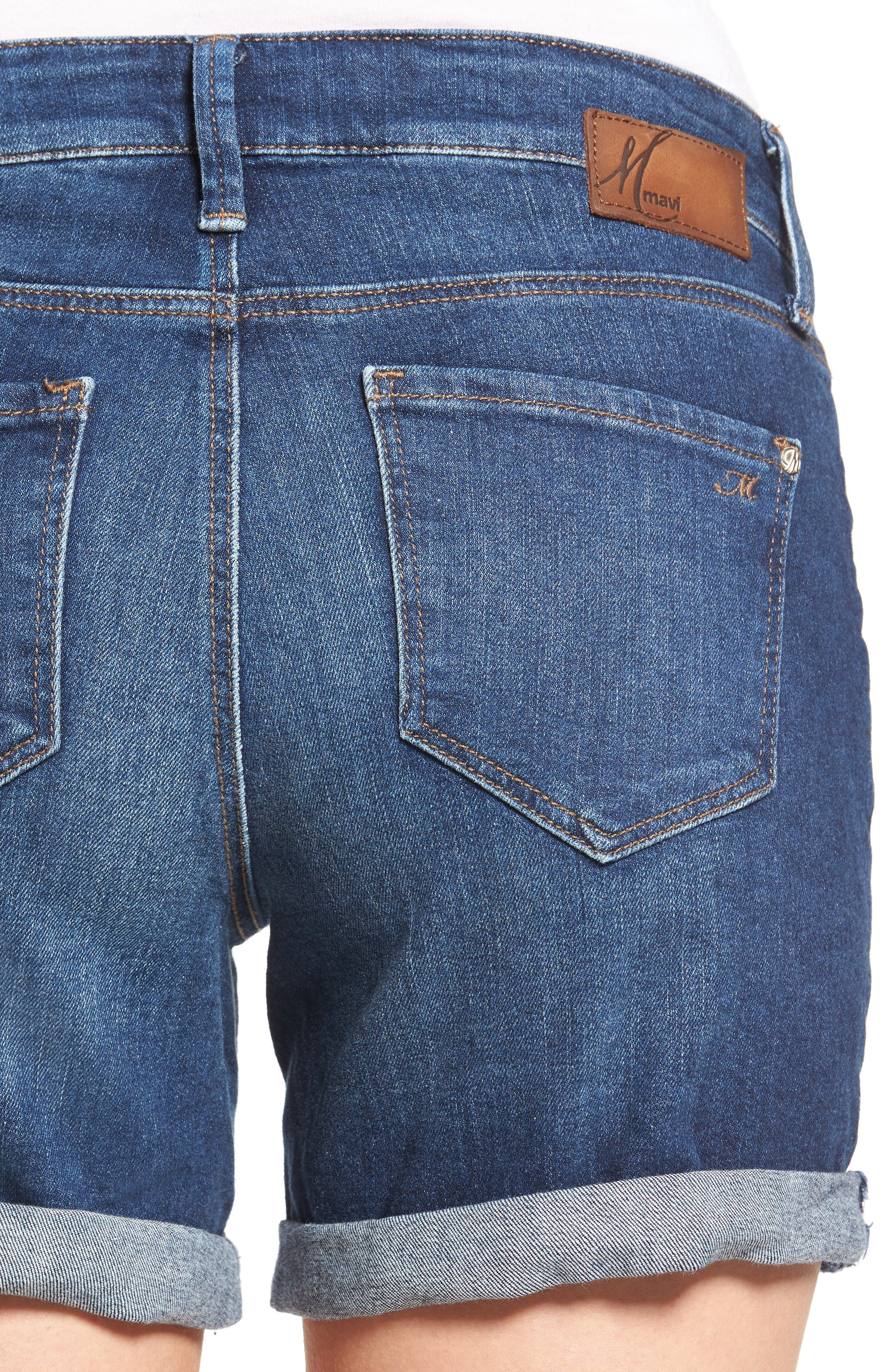 Marla Roll Cuff Denim Shorts,                             Alternate thumbnail 4, color,                             Dark