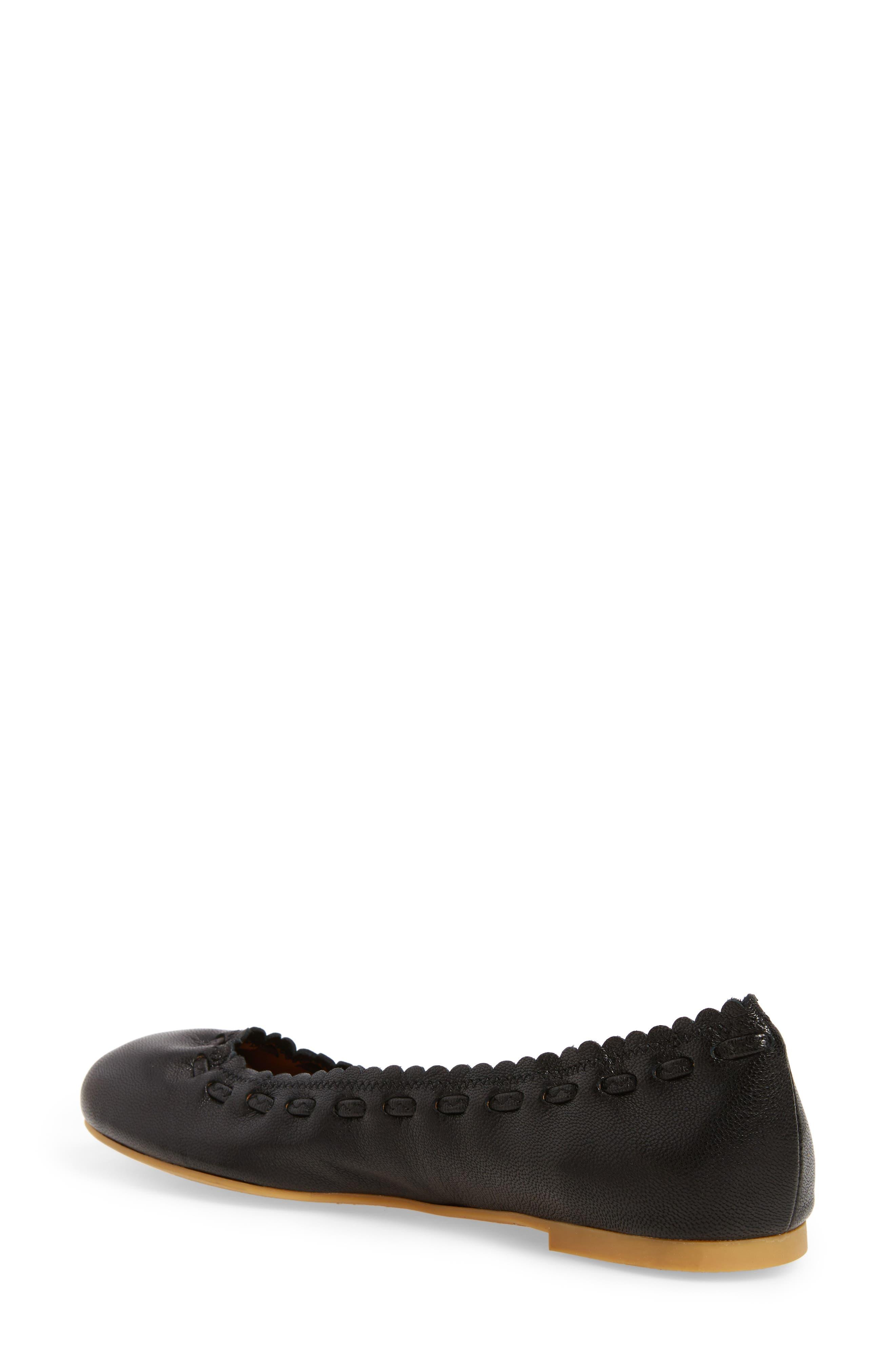 'Jane' Ballerina Flat,                             Alternate thumbnail 2, color,                             Black/ Goat Leather