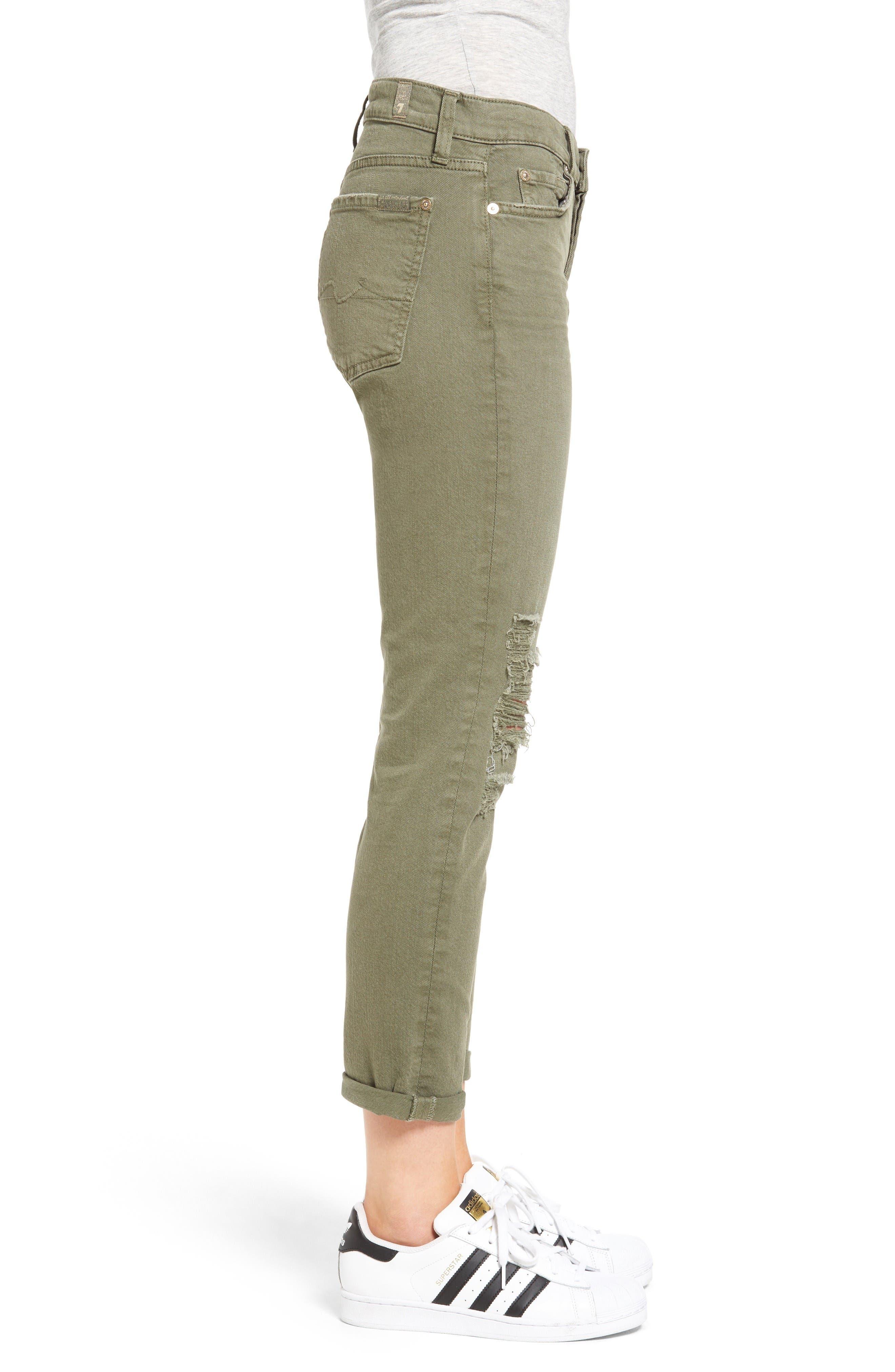 Alternate Image 3  - 7 For All Mankind® Josefina Destroyed Boyfriend Jeans (Sun Bleached Olive)
