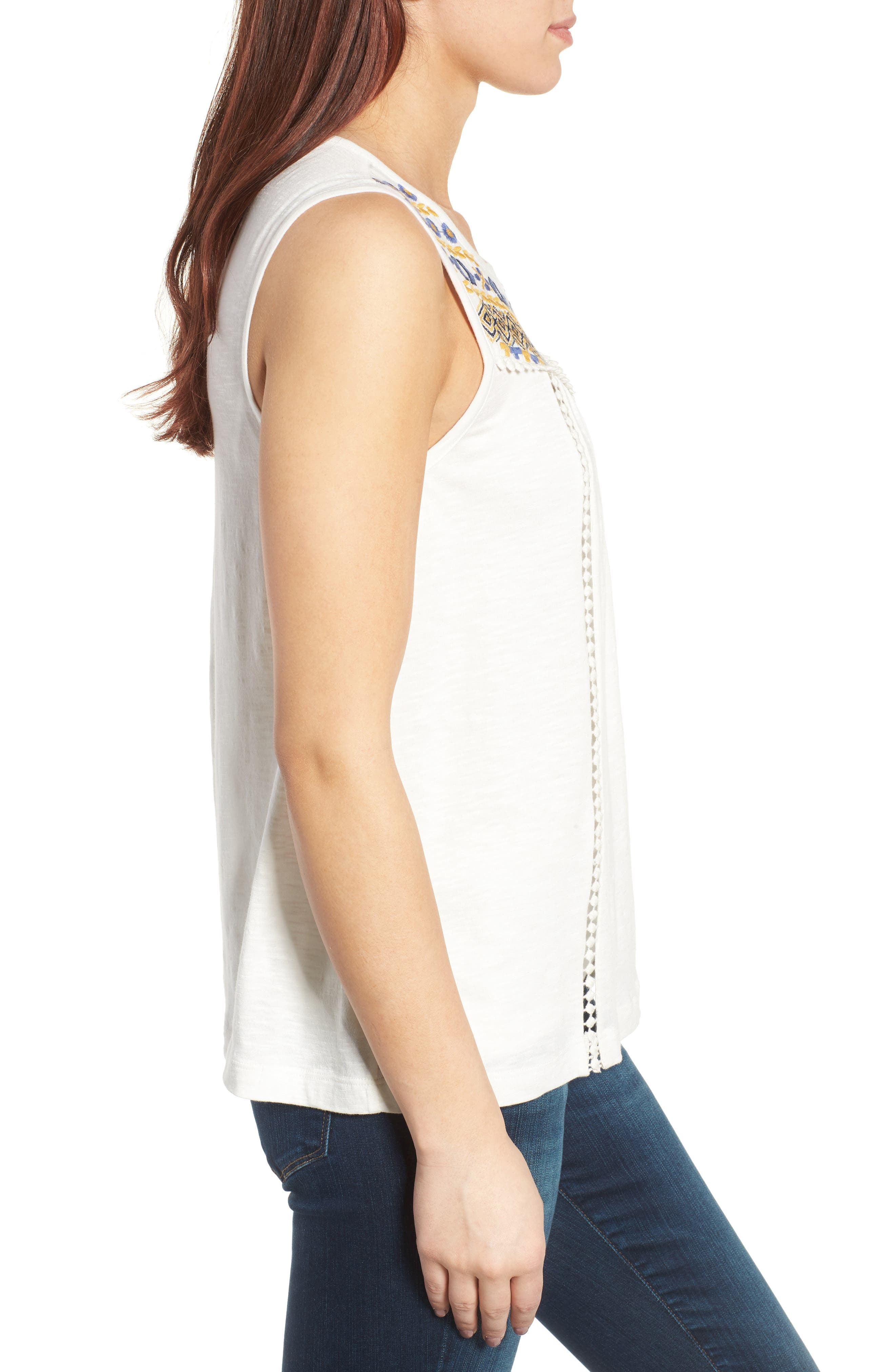 Embroidered Yoke Tank,                             Alternate thumbnail 3, color,                             Ivory- Yellow Embroidery