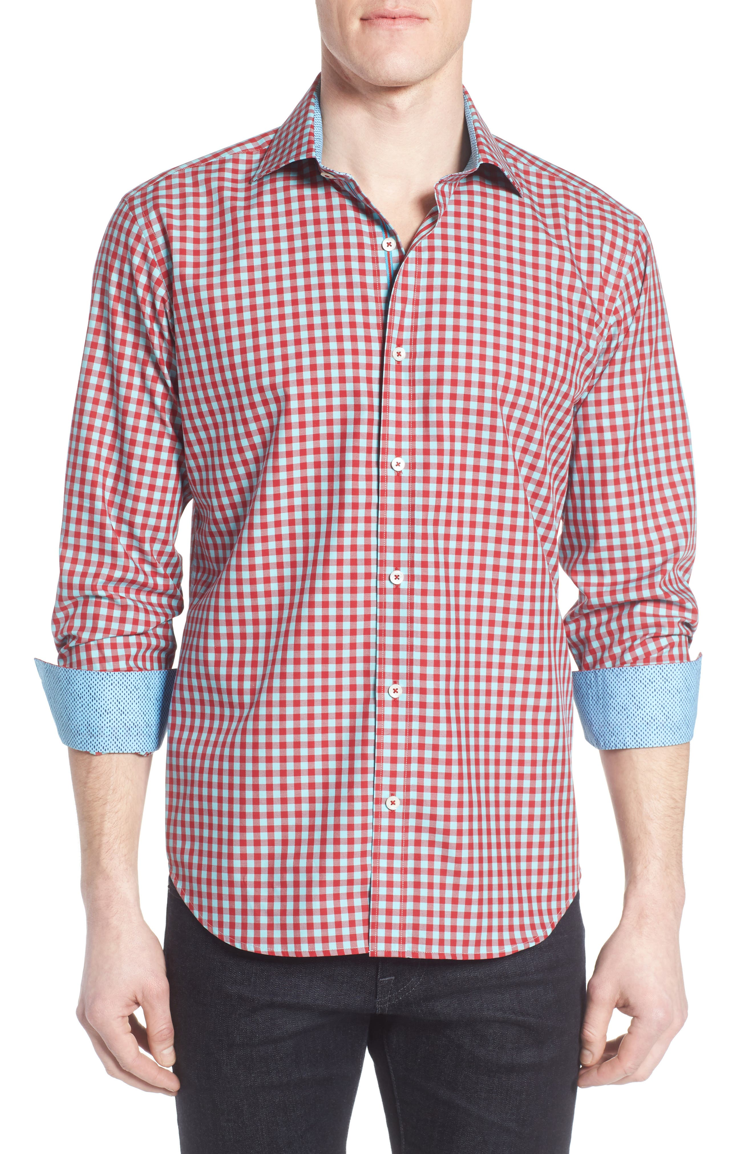Shaped Fit Gingham Sport Shirt,                             Main thumbnail 1, color,                             Ruby