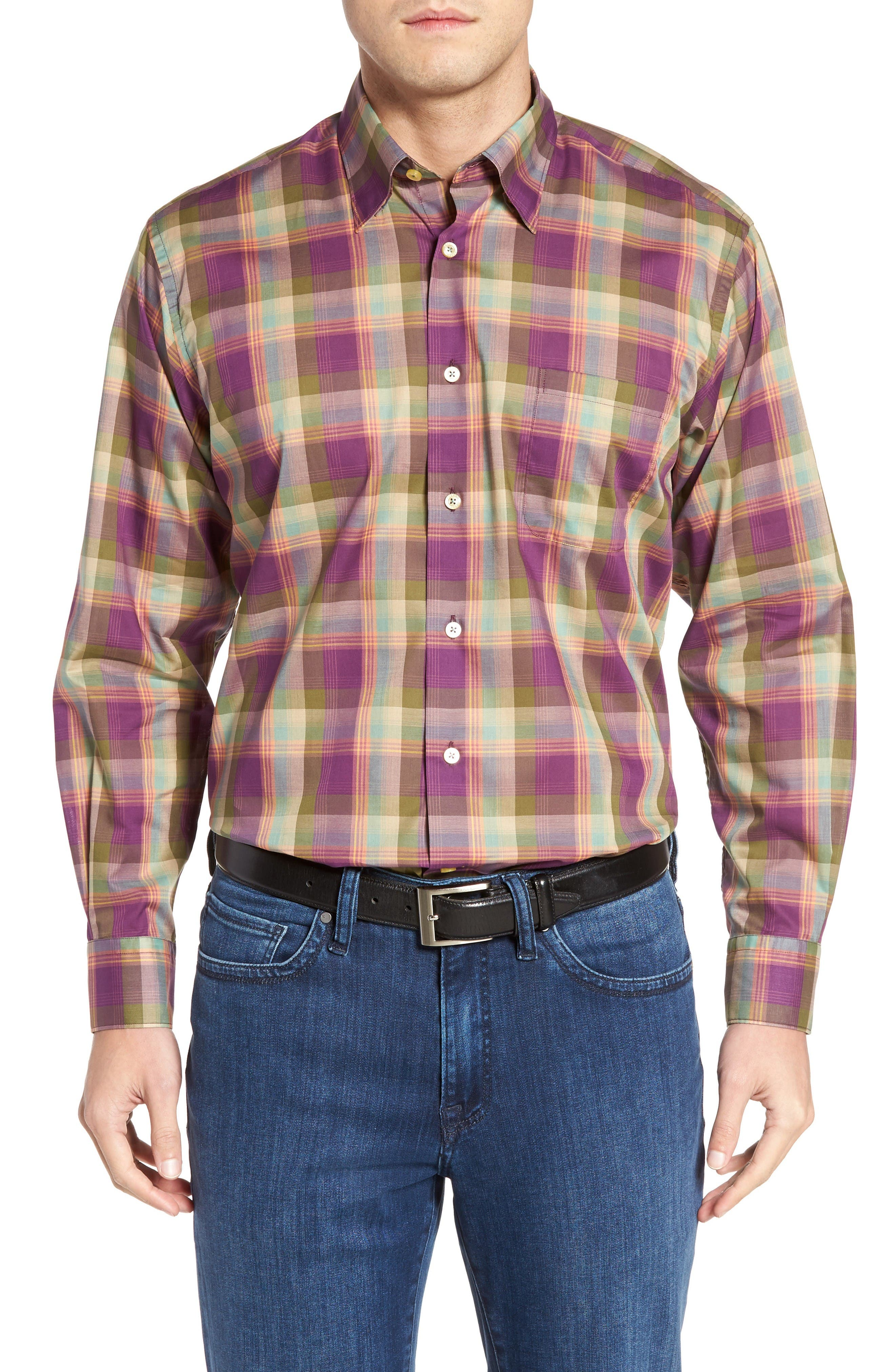 Anderson Classic Fit Plaid Sport Shirt,                         Main,                         color, Port