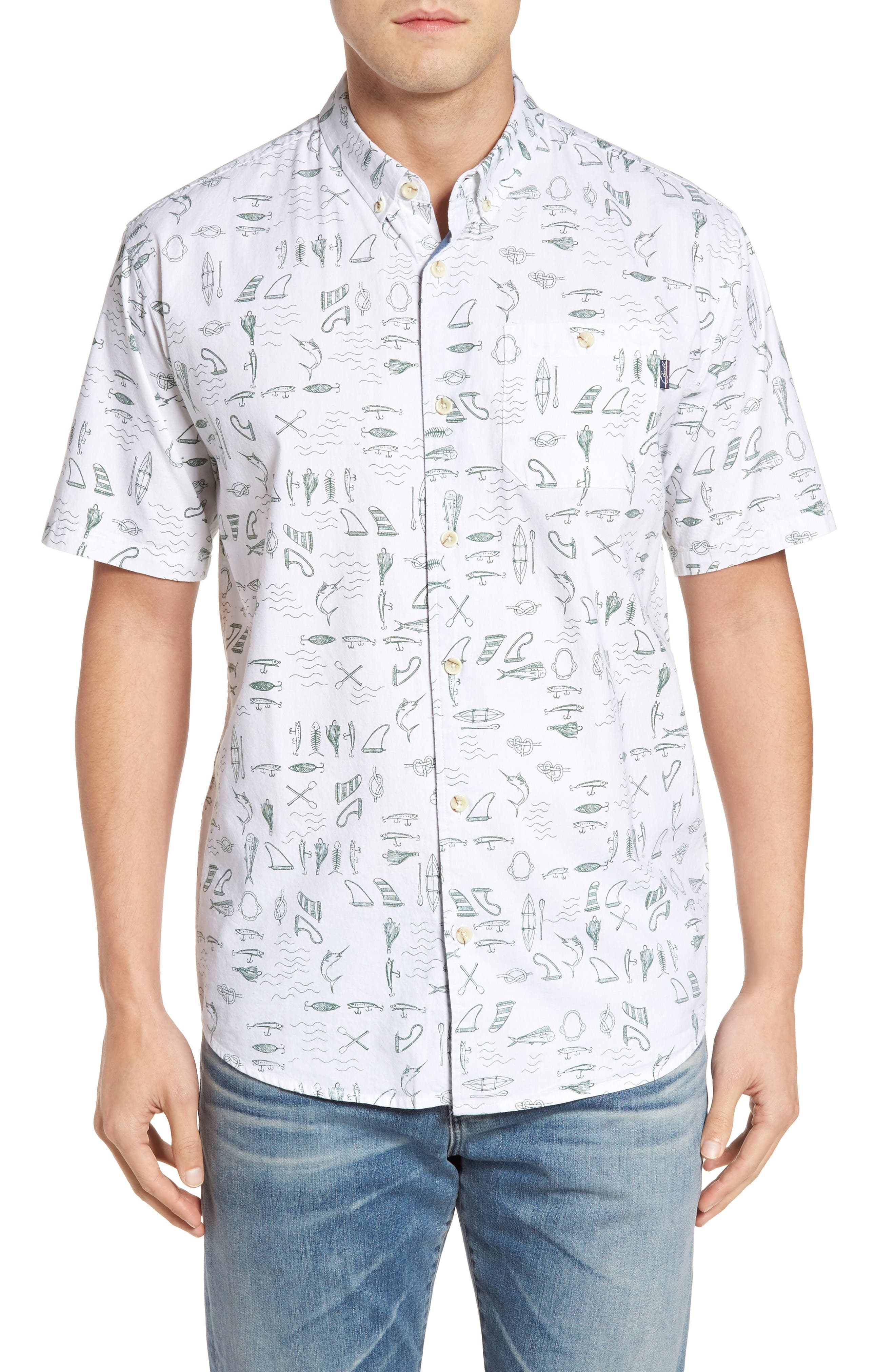 Old Harbor Print Sport Shirt,                         Main,                         color, White