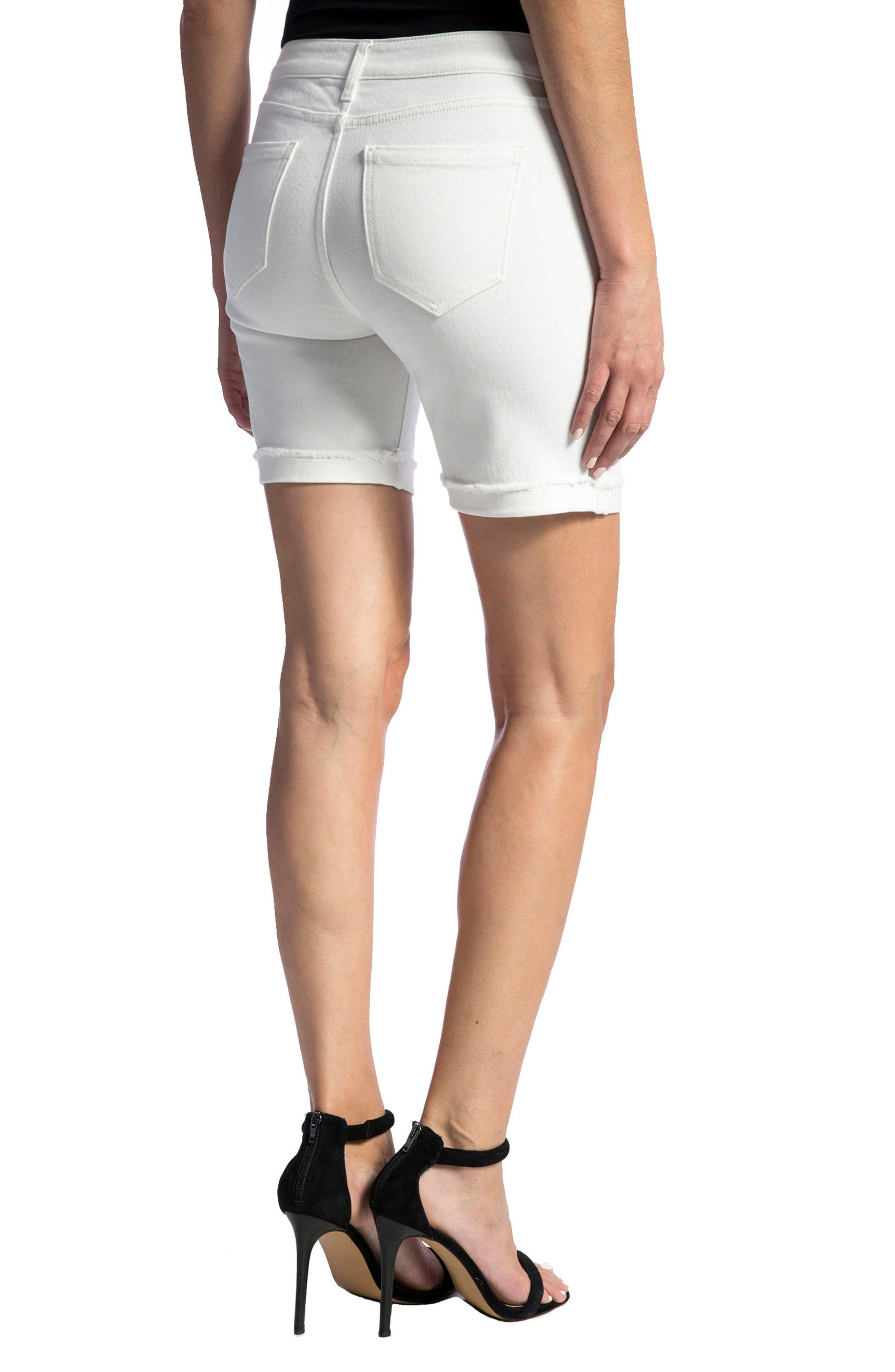 Corine Cuffed Denim Shorts,                             Alternate thumbnail 5, color,                             Bright White