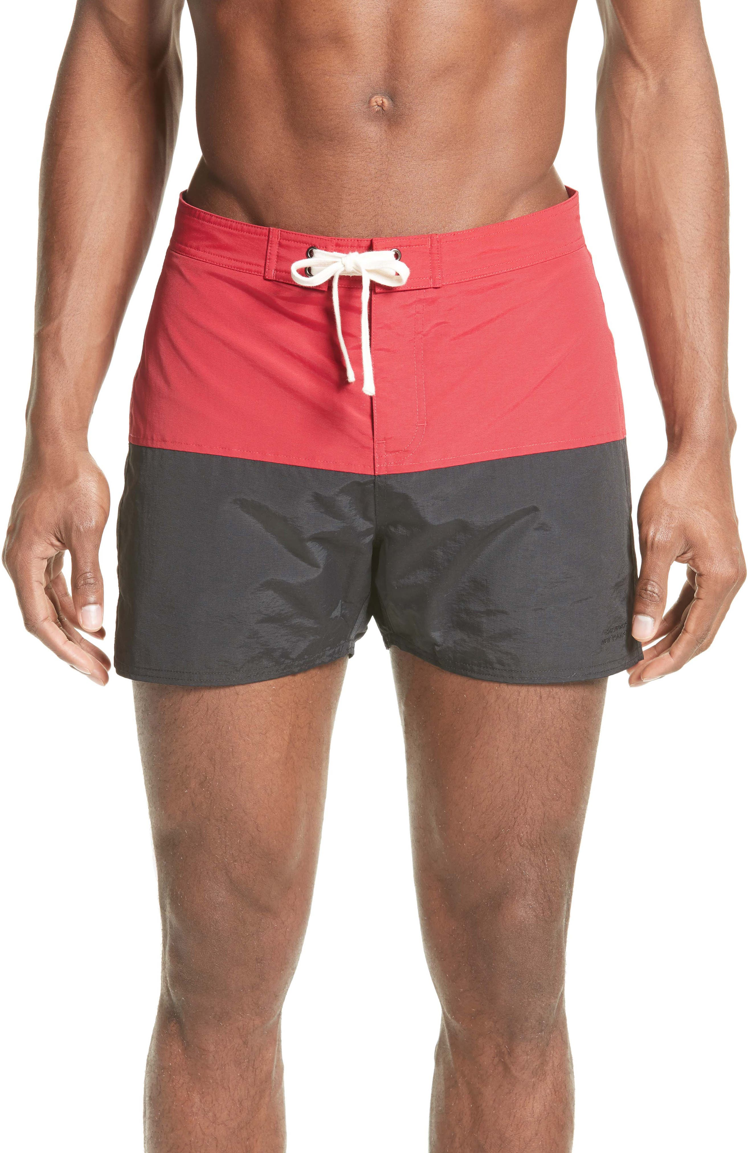 Ennis Colorblock Board Shorts,                         Main,                         color, Red Ink/ Midnight