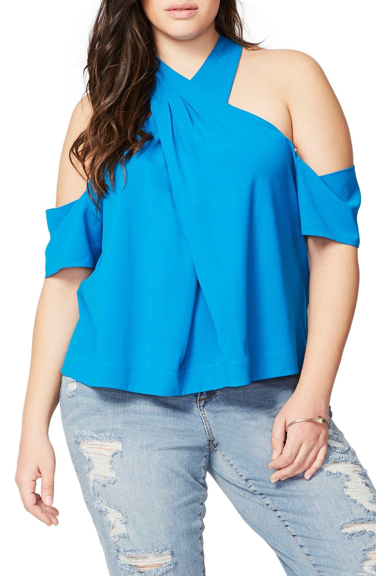 Alternate Image 1 Selected - Rachel Roy Cold Shoulder Crisscross Top (Plus Size)