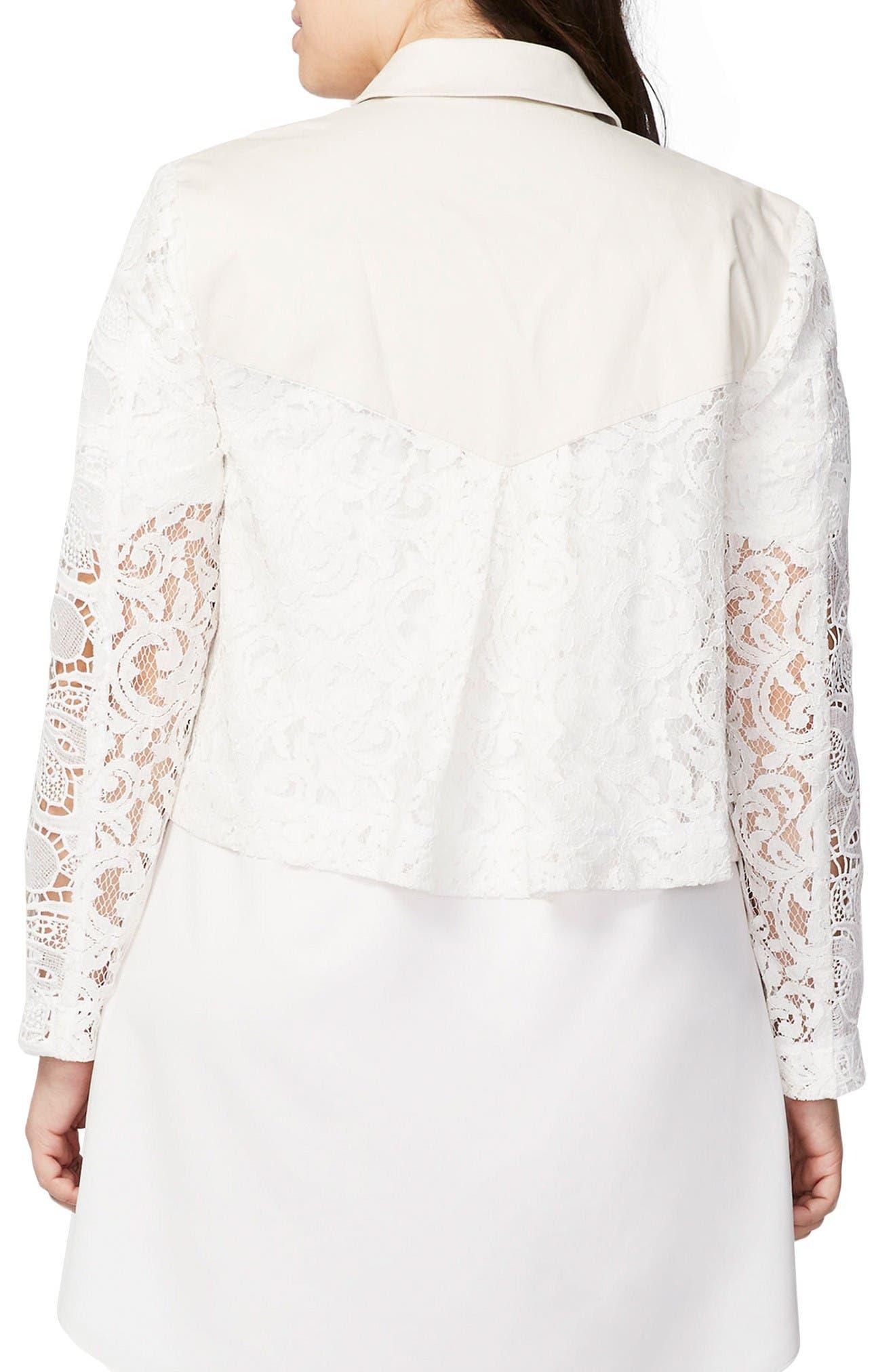 Alternate Image 2  - Rachel Roy Crop Lace Trench Jacket (Plus Size)
