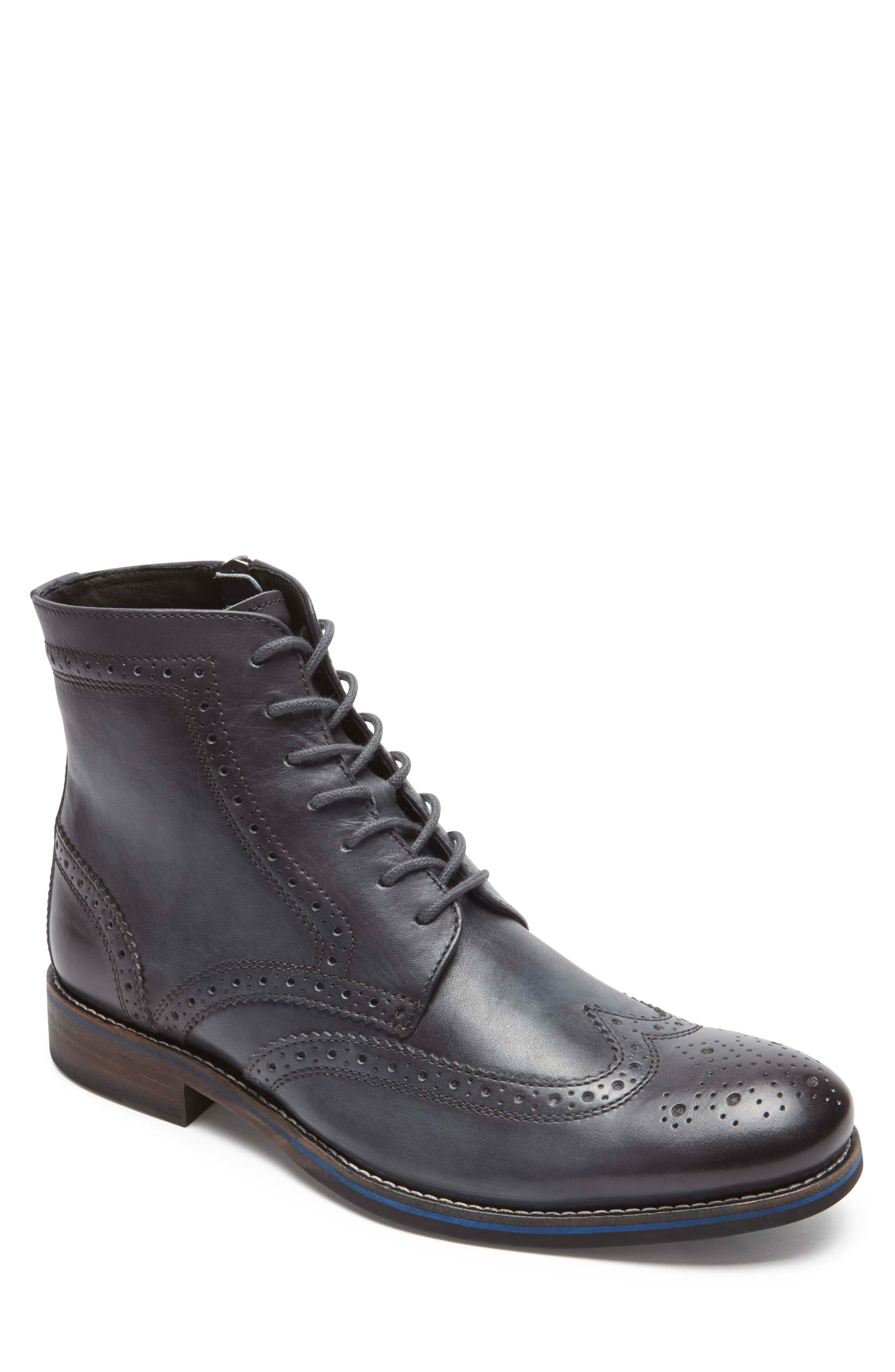 Wyat Wingtip Boot,                         Main,                         color, Dark Shadow Leather