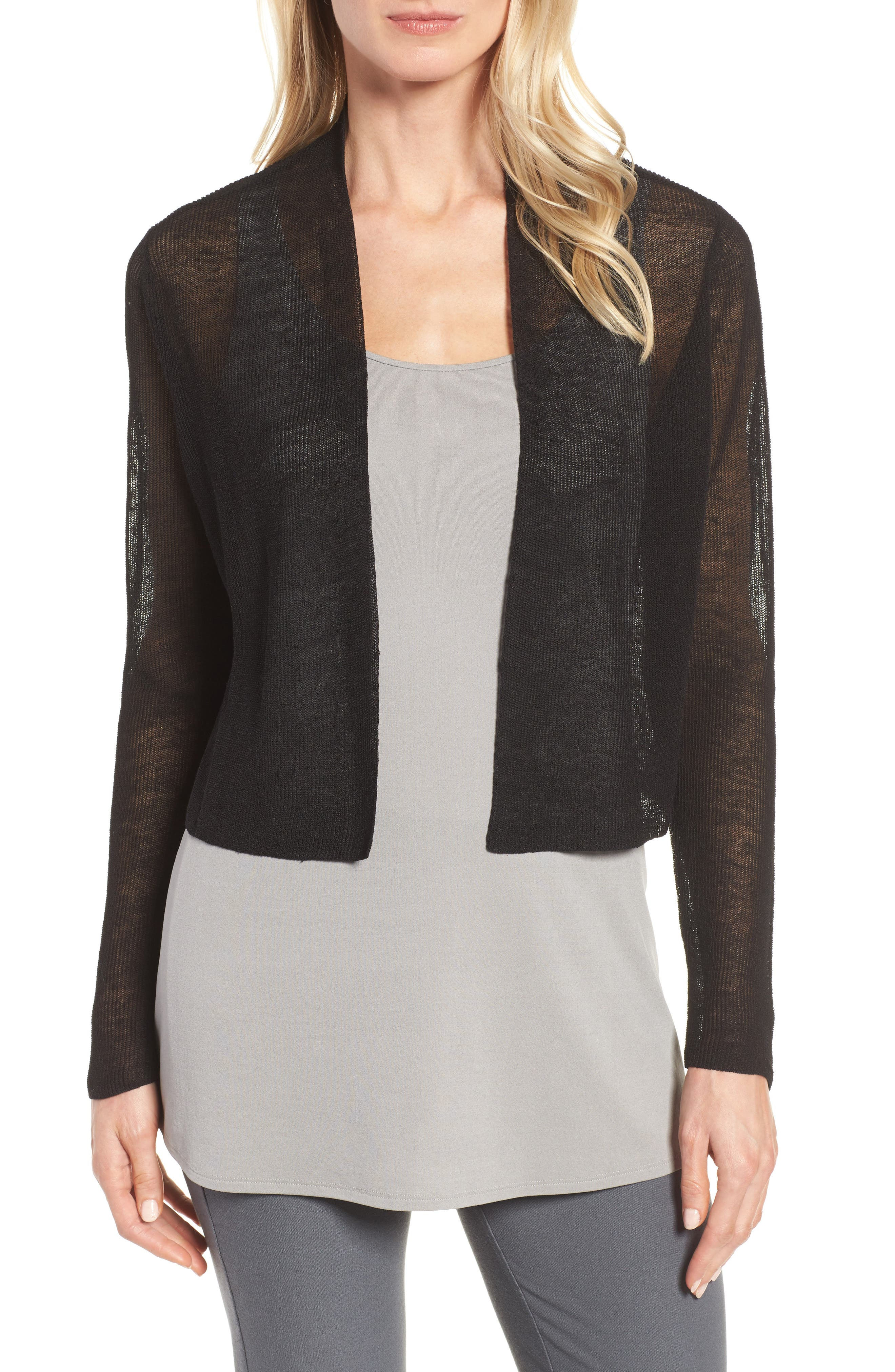Organic Linen Blend Crop Cardigan,                             Main thumbnail 1, color,                             Black
