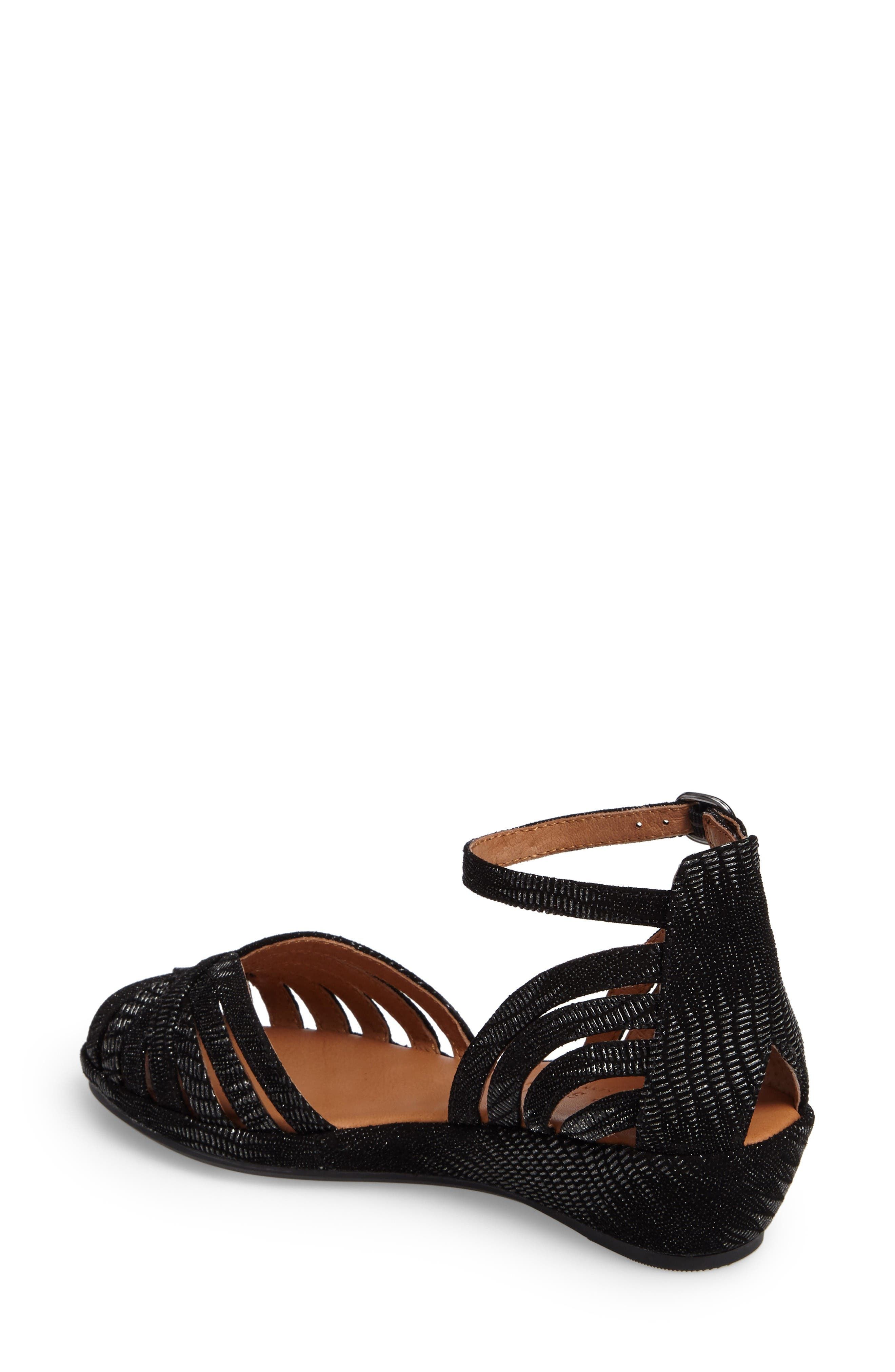 by Kenneth Cole 'Leah' Peep Toe Wedge Sandal,                             Alternate thumbnail 2, color,                             Black/ Black Leather
