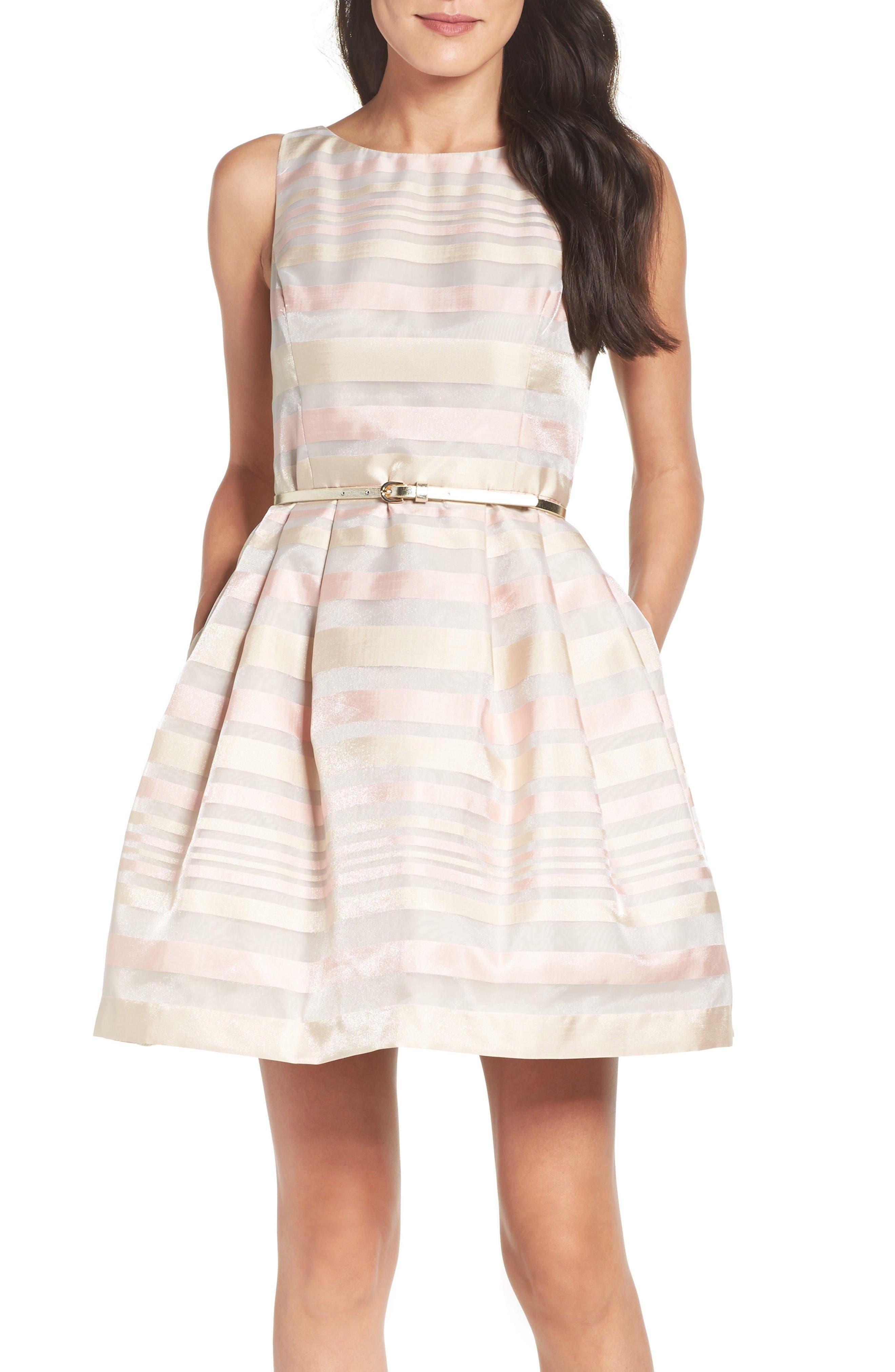 Alternate Image 4  - Eliza J Stripe Fit & Flare Dress