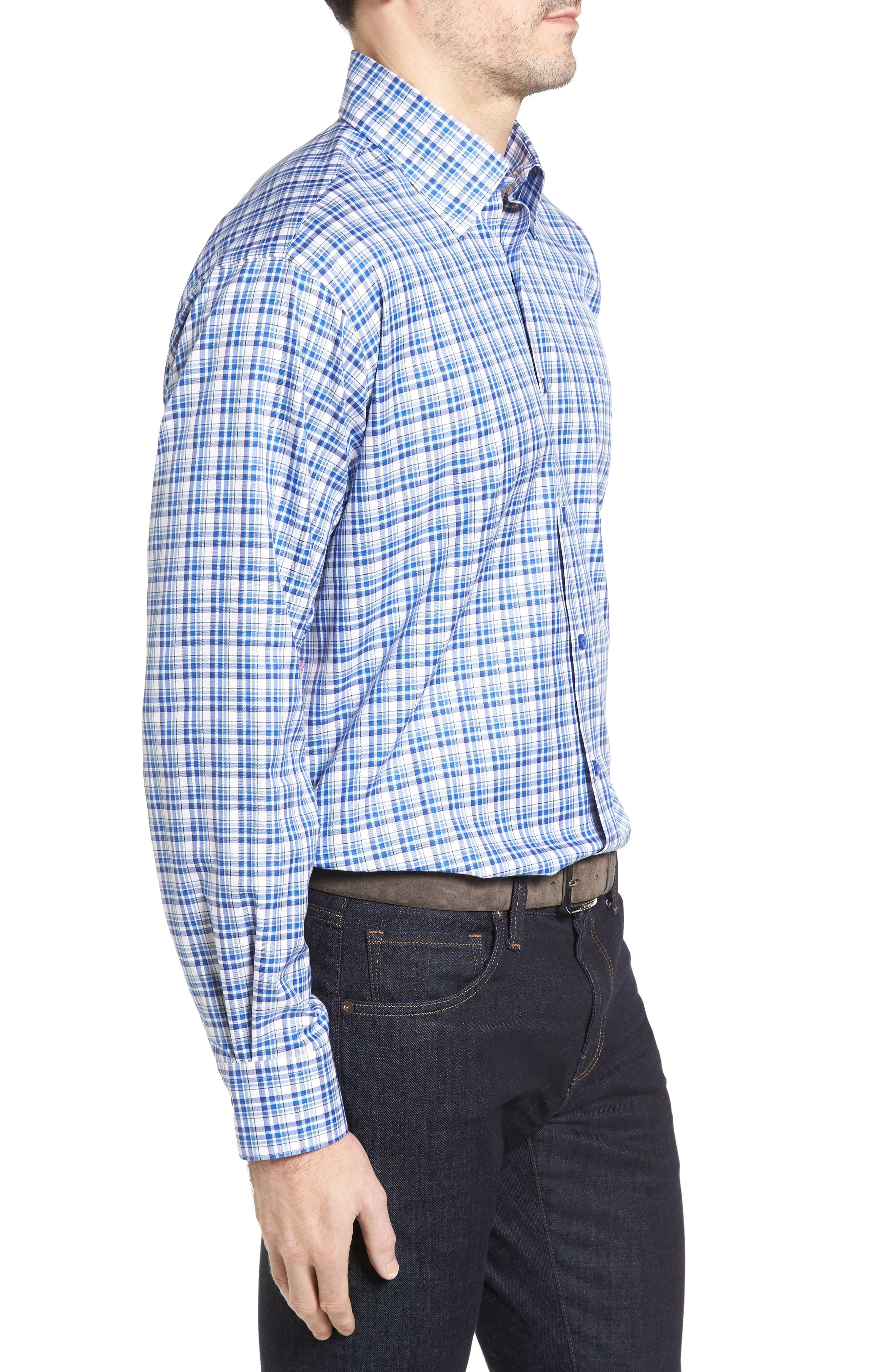 Anderson Classic Fit Plaid Micro Twill Sport Shirt,                             Alternate thumbnail 3, color,                             Pacific