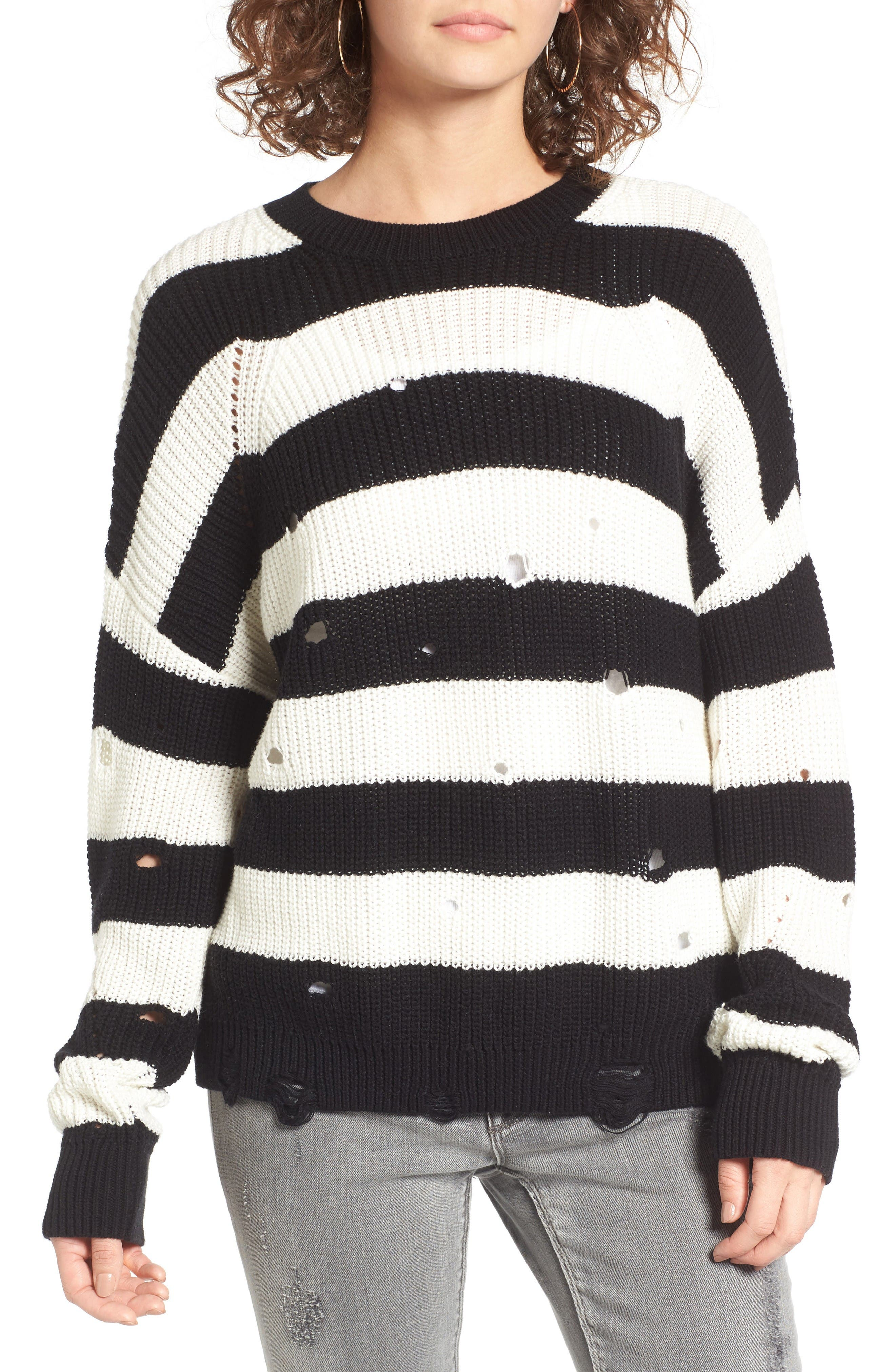 BP. Decontructed Stripe Cotton Pullover