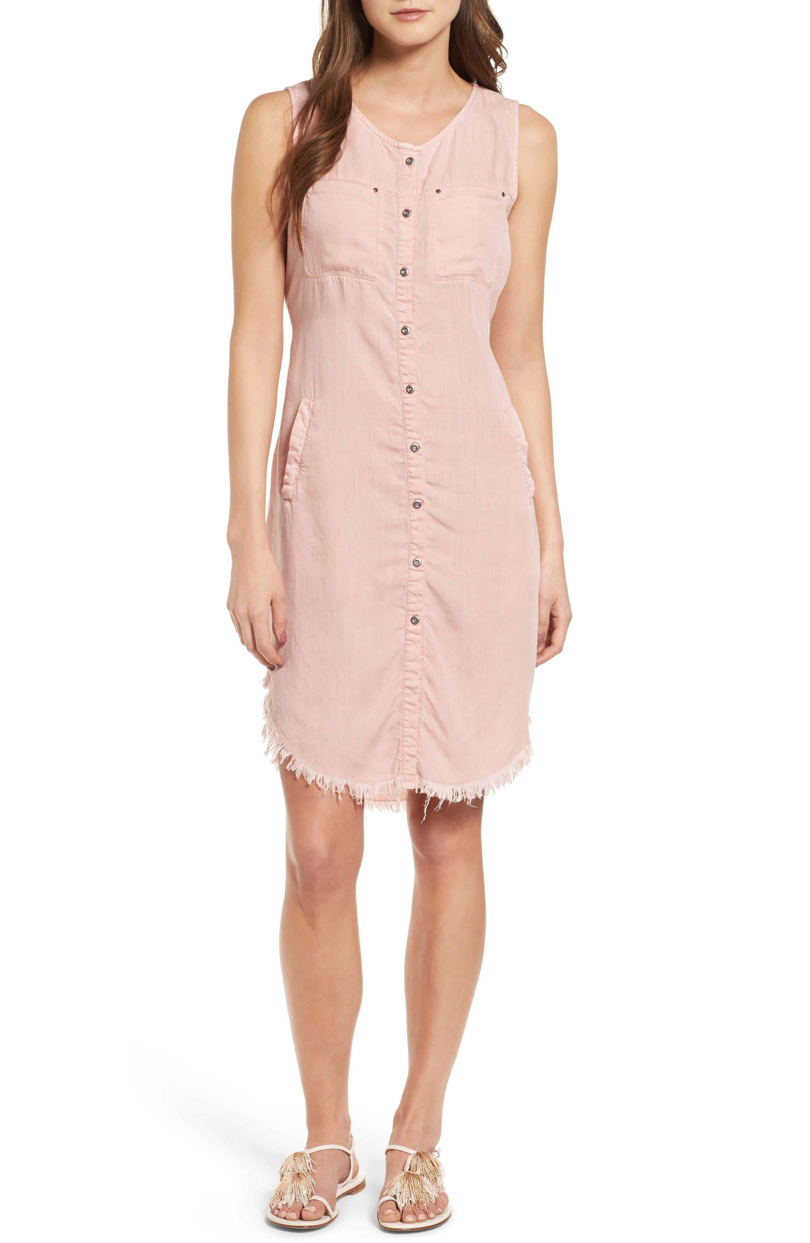 Fray Hem Shirtdress,                         Main,                         color, Dusty Pink