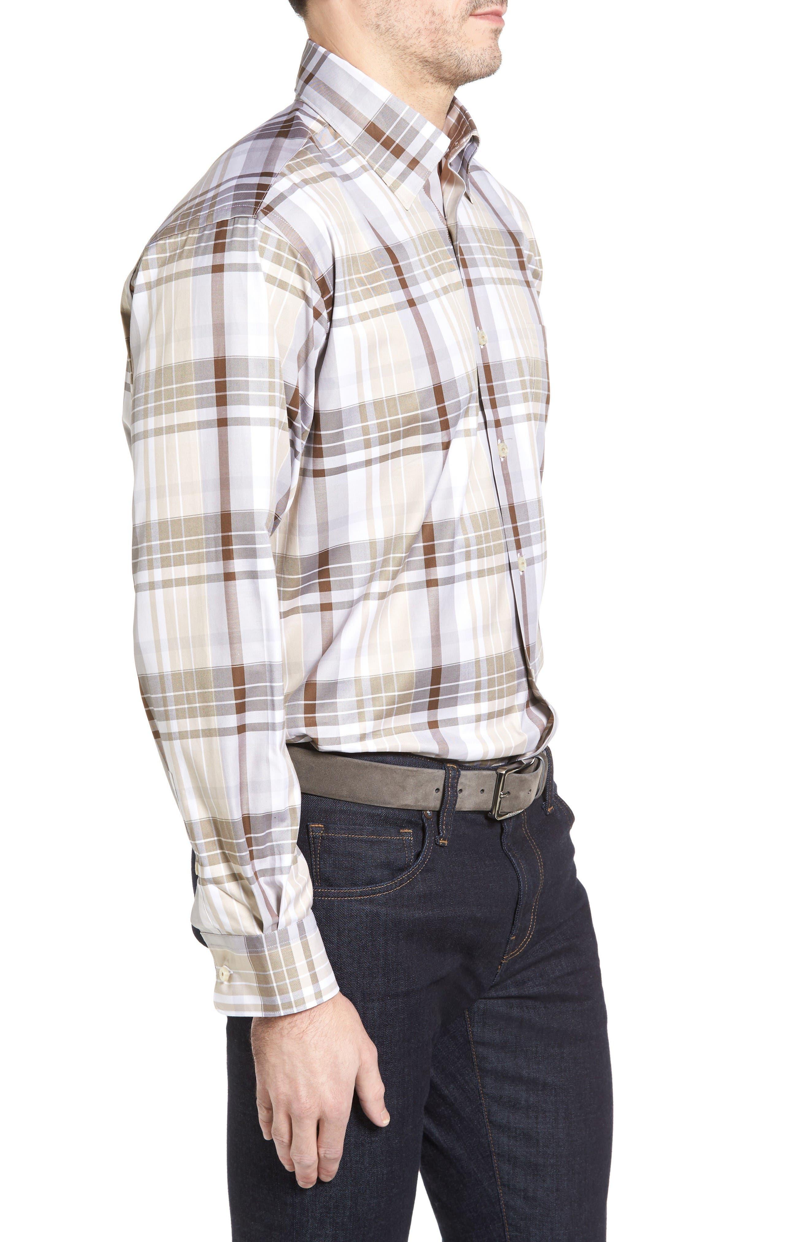 Anderson Classic Fit Plaid Micro Twill Sport Shirt,                             Alternate thumbnail 3, color,                             Desert