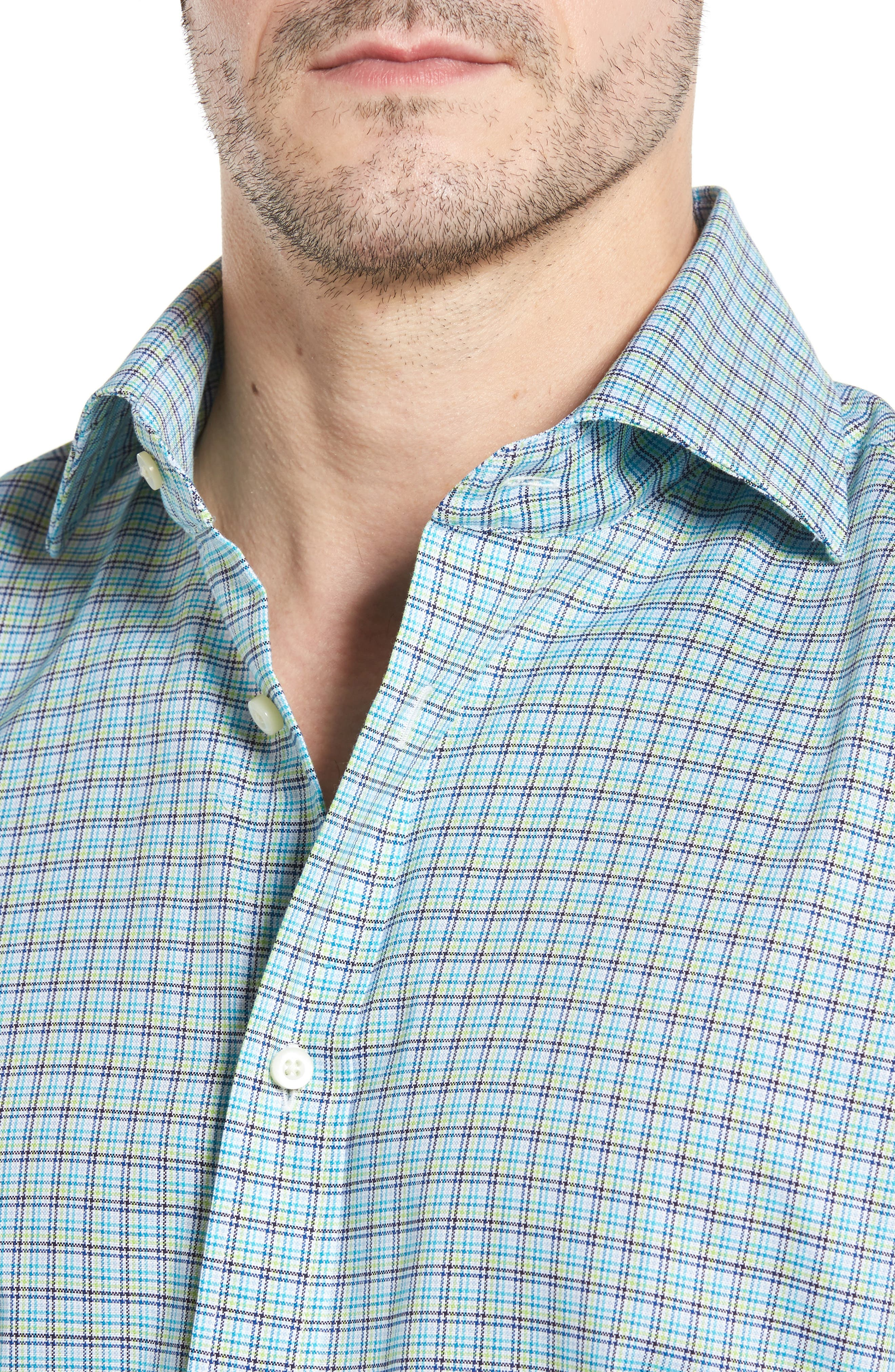 Classic Fit Textured Check Sport Shirt,                             Alternate thumbnail 4, color,                             Aqua