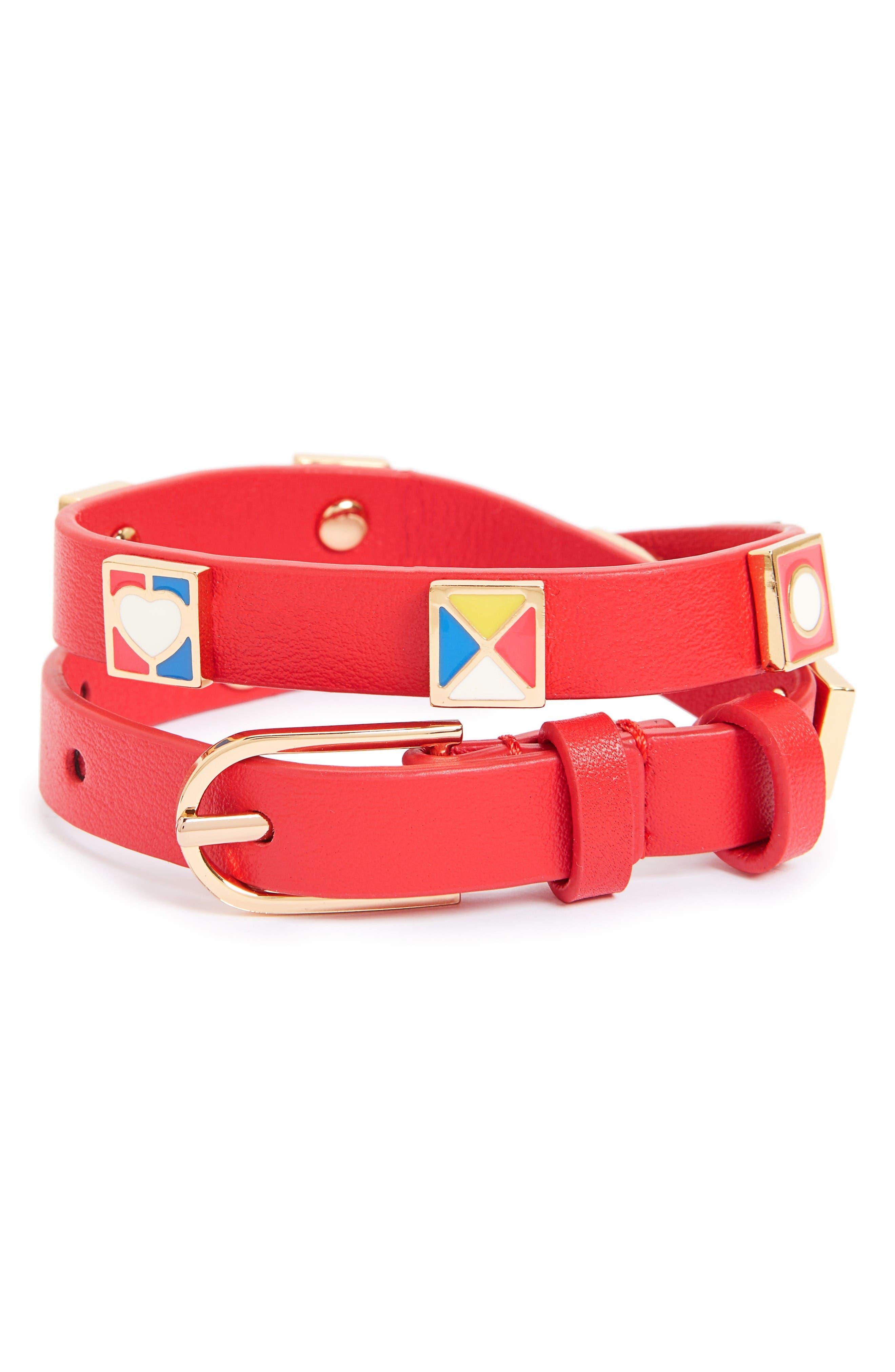 TORY BURCH Flag Leather Wrap Bracelet