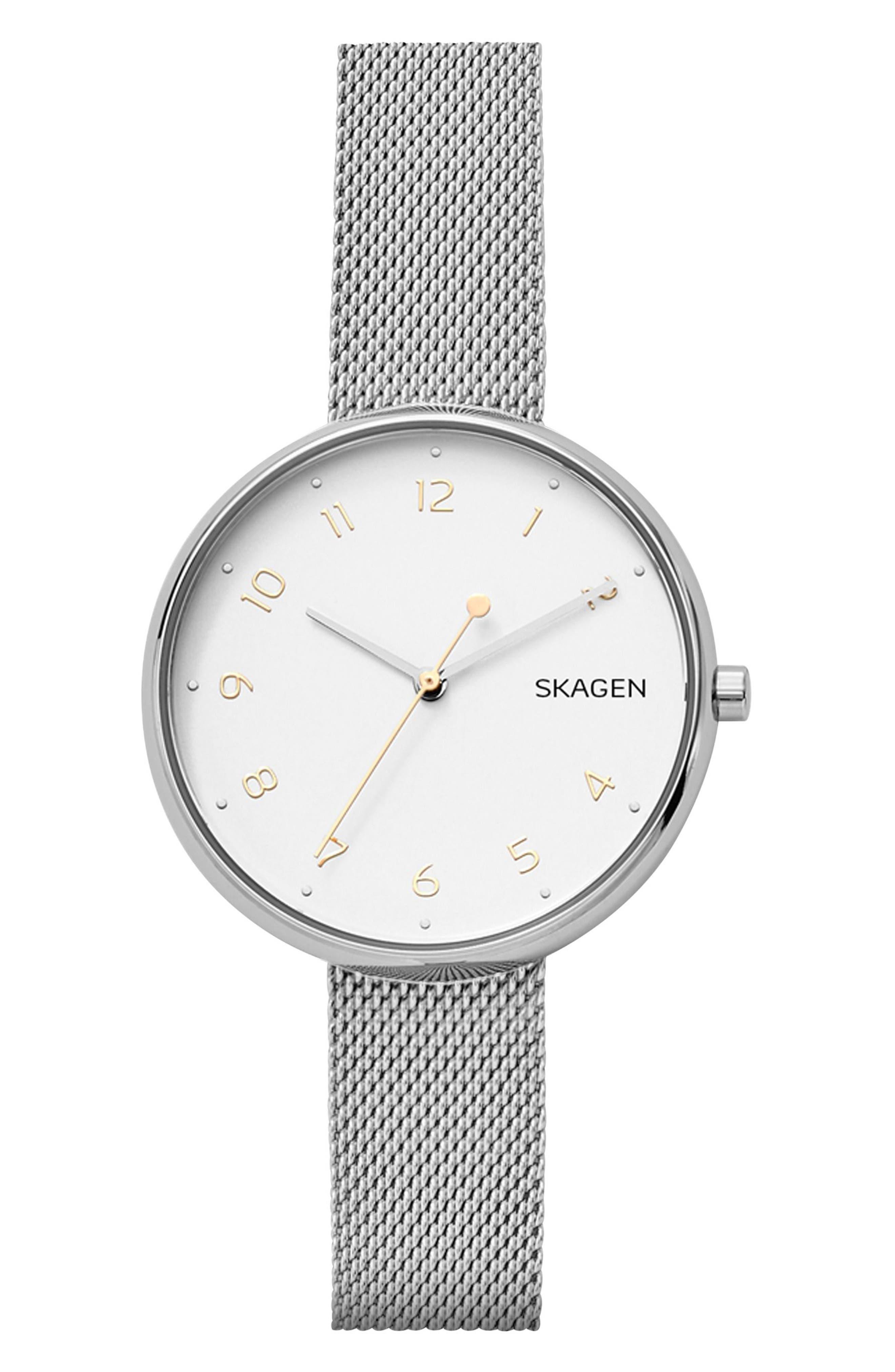 Signatur Mesh Strap Watch, 36mm,                         Main,                         color, Silver/ White/ Silver