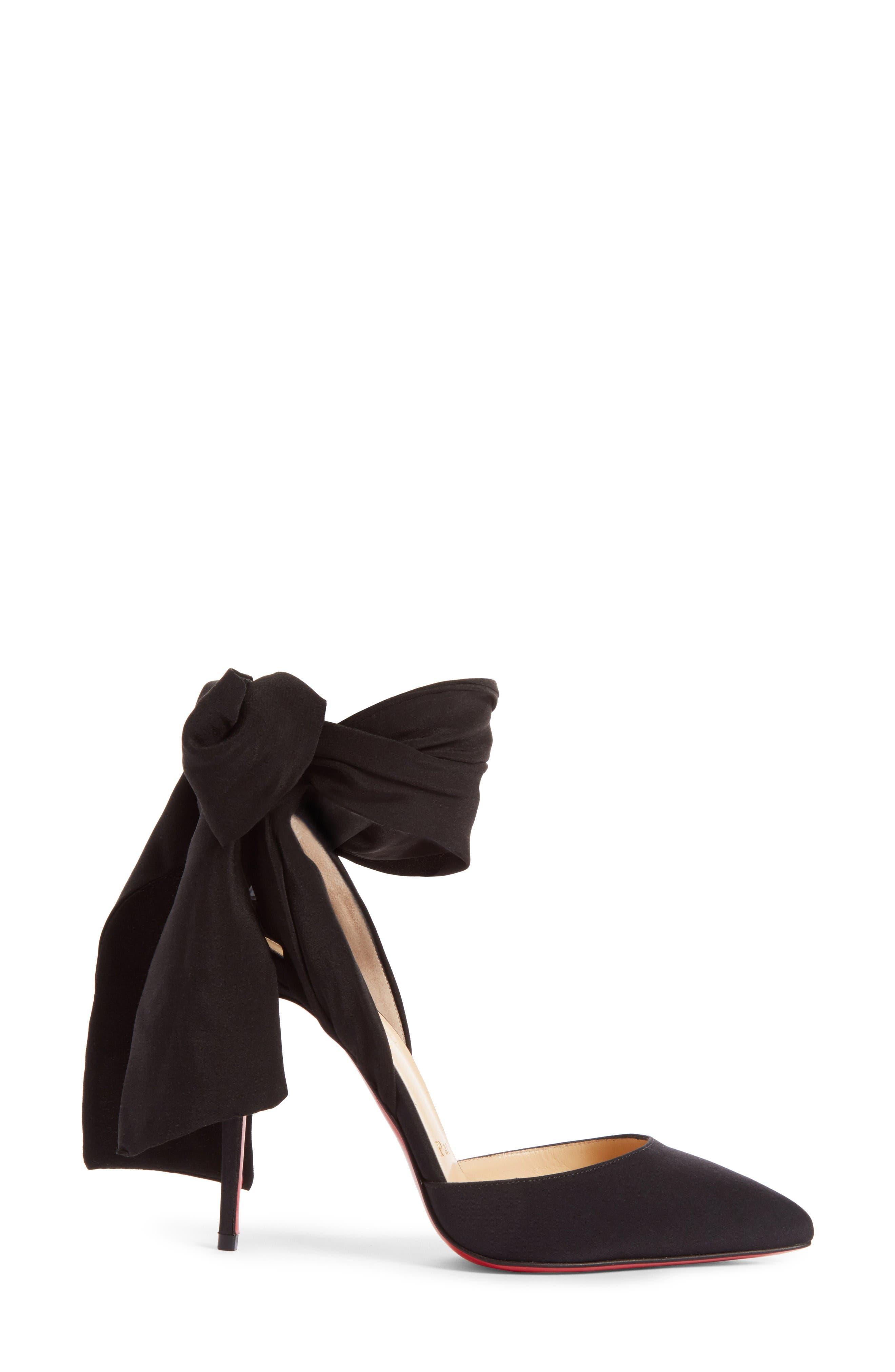 Douce Du Desert Ankle Tie Pump,                             Alternate thumbnail 3, color,                             Black Satin