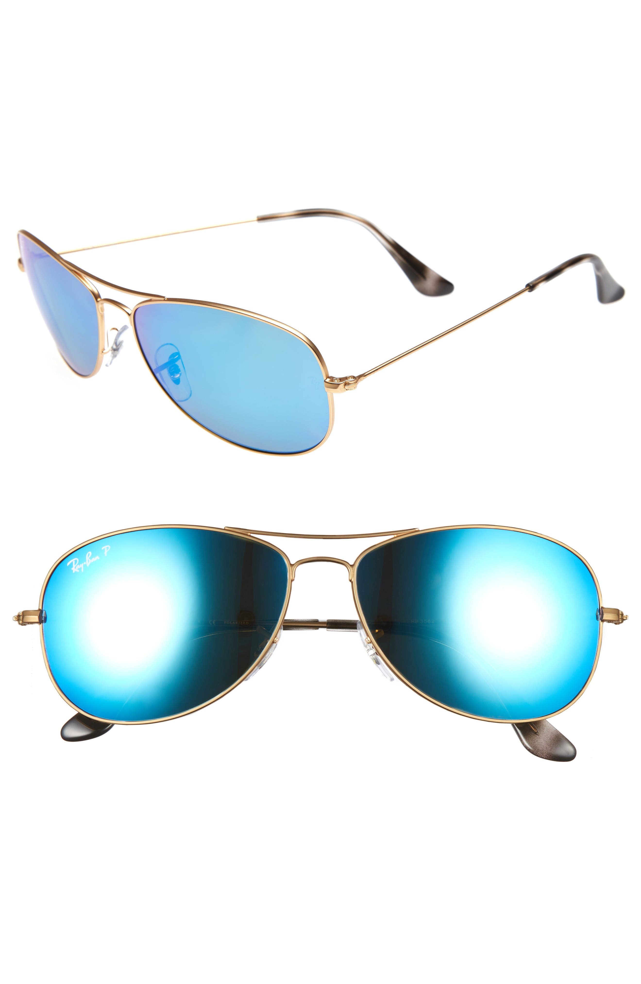 04703906003 RAY BAN 59MM CHROMANCE AVIATOR SUNGLASSES - GOLD  BLUE GREEN