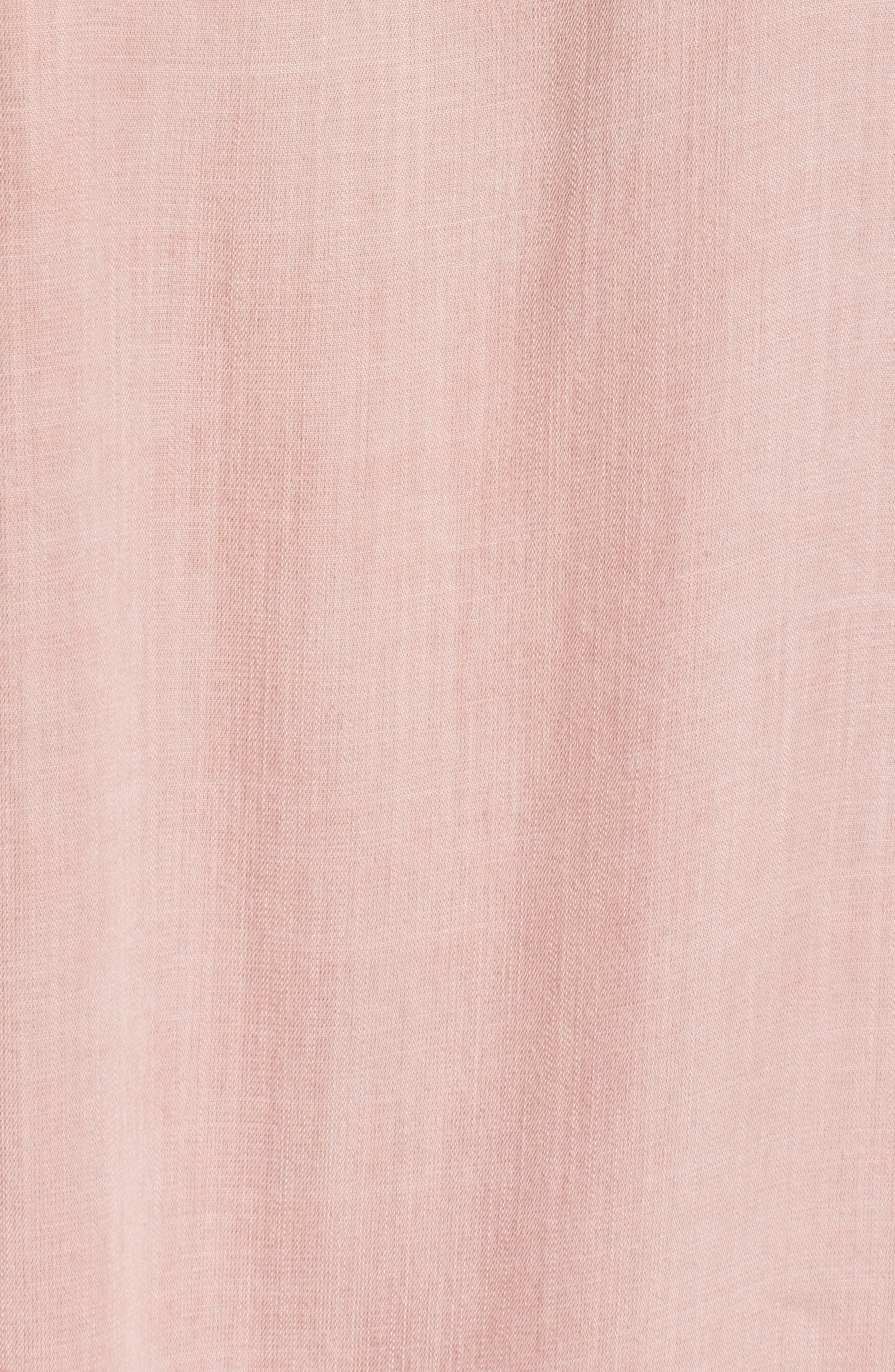 Off the Shoulder Denim Dress,                             Alternate thumbnail 5, color,                             Dusty Pink