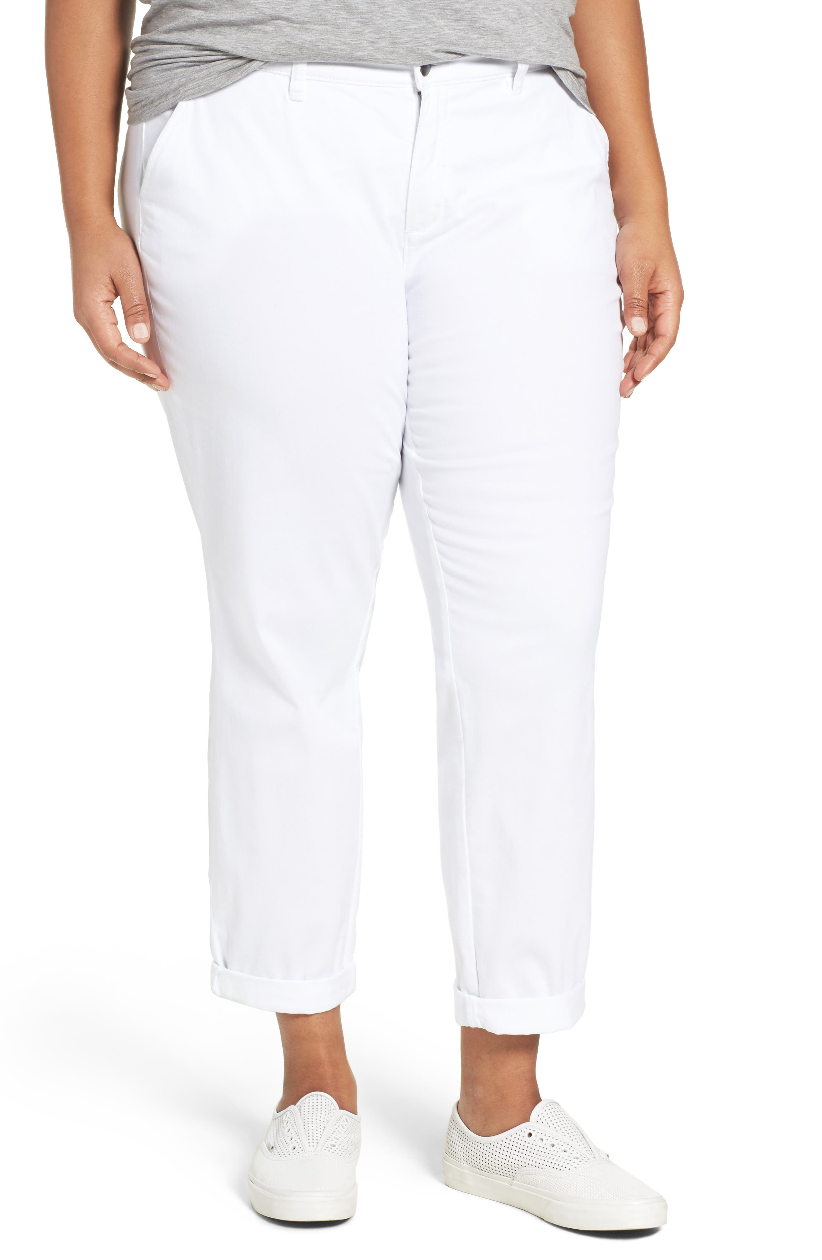 Stretch Cotton Ankle Pants,                         Main,                         color, White