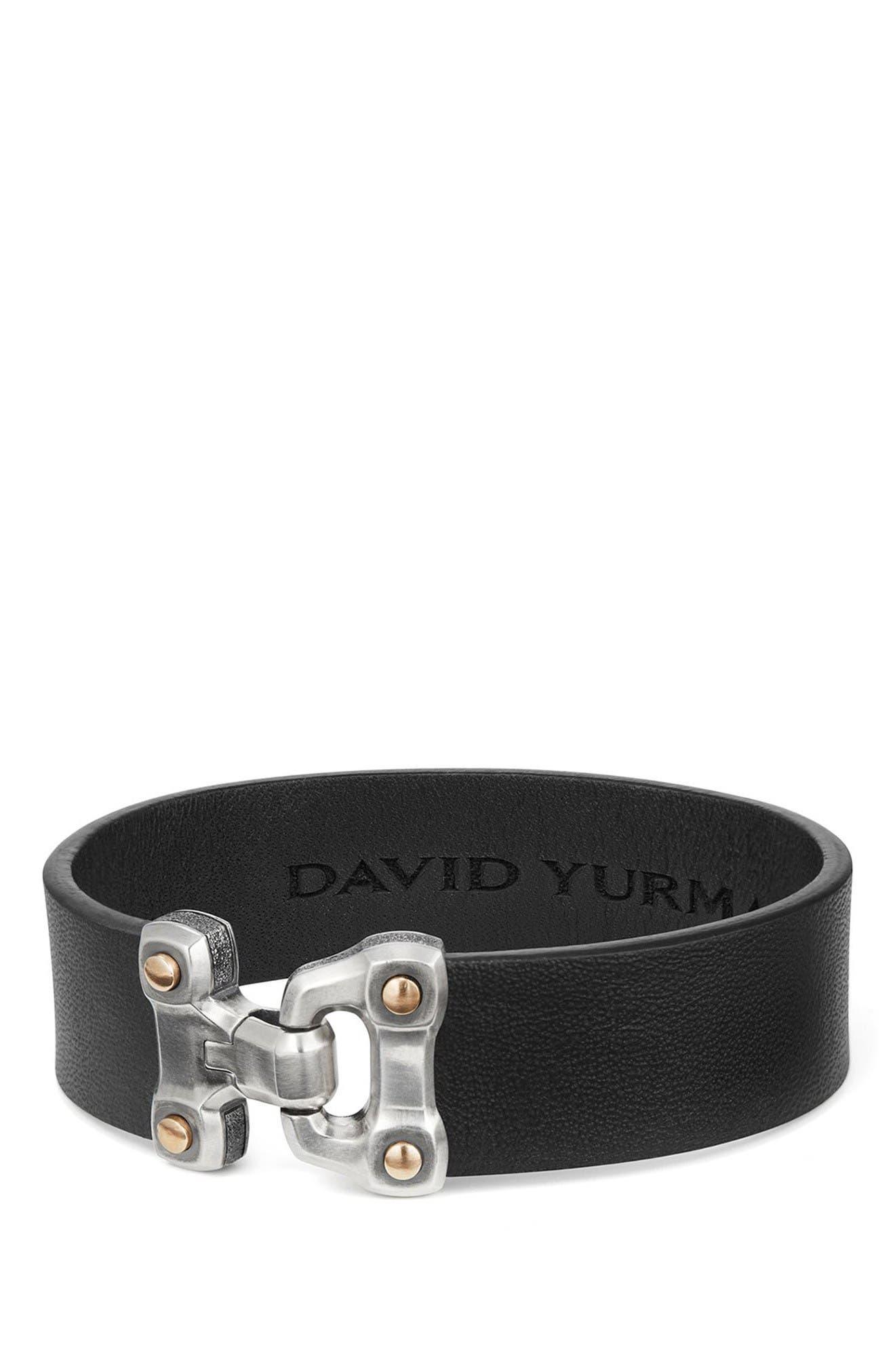 Anvil Leather Bracelet,                         Main,                         color, Silver/ Bronze/ Black Leather