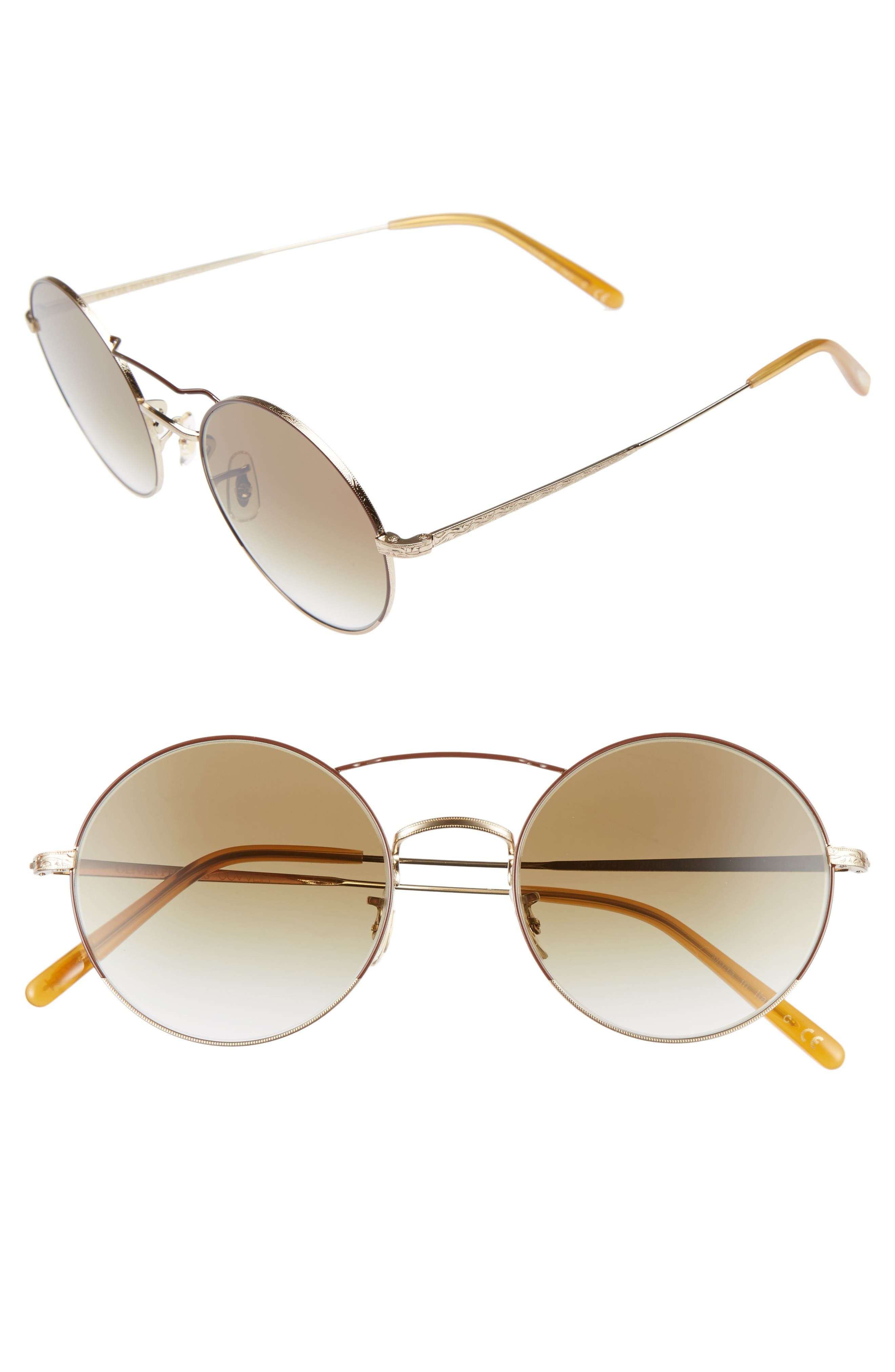 Nickol 53mm Round Sunglasses,                         Main,                         color, Gold