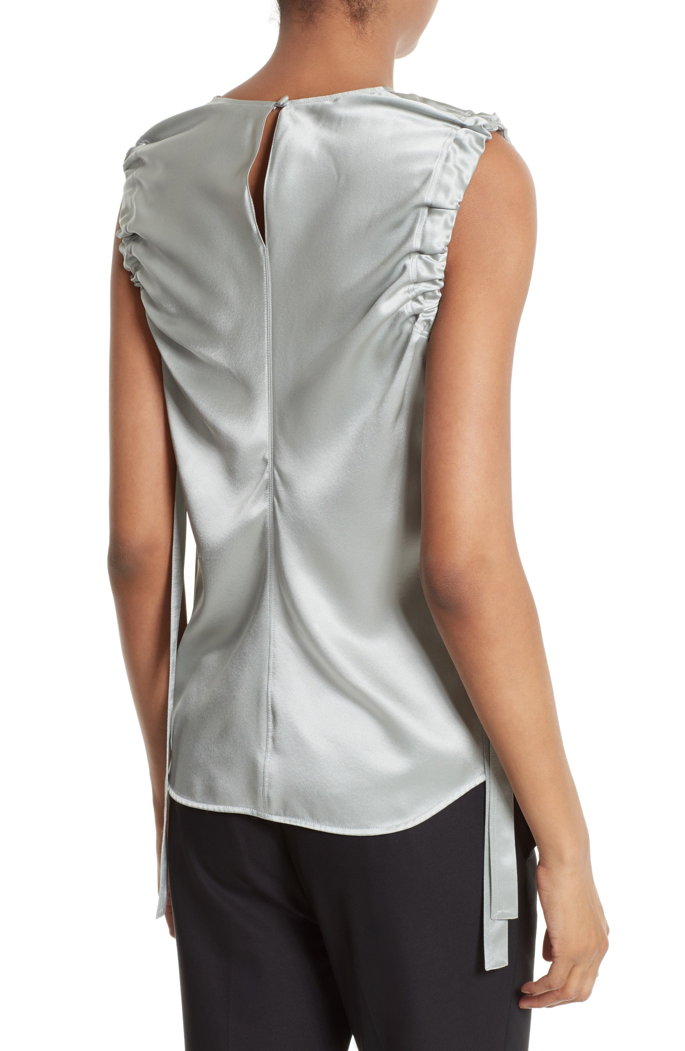 Ruched Armhole Silk Tank,                             Alternate thumbnail 2, color,                             Dew