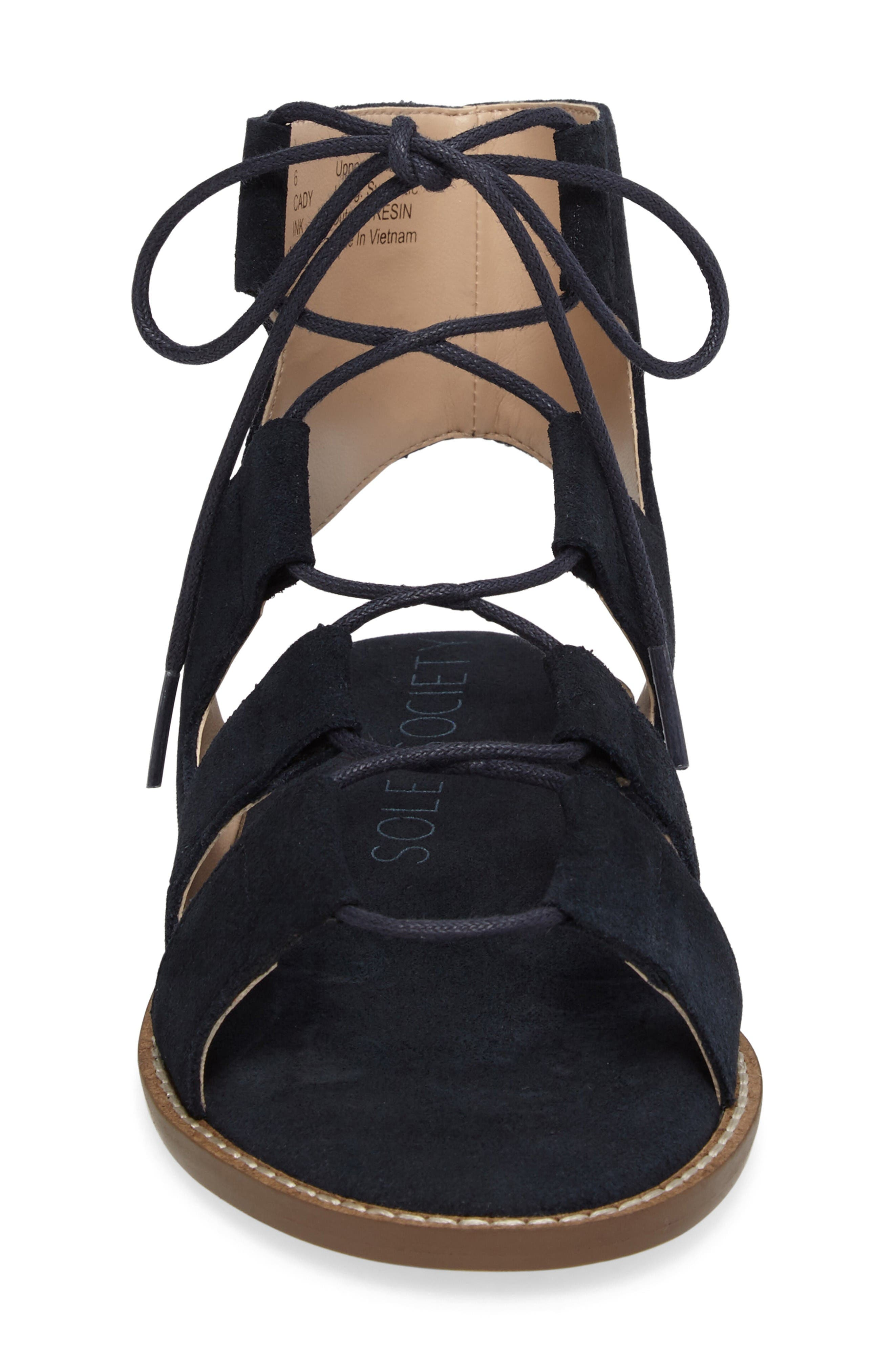 'Cady' Lace-Up Flat Sandal,                             Alternate thumbnail 4, color,                             Ink Navy Suede