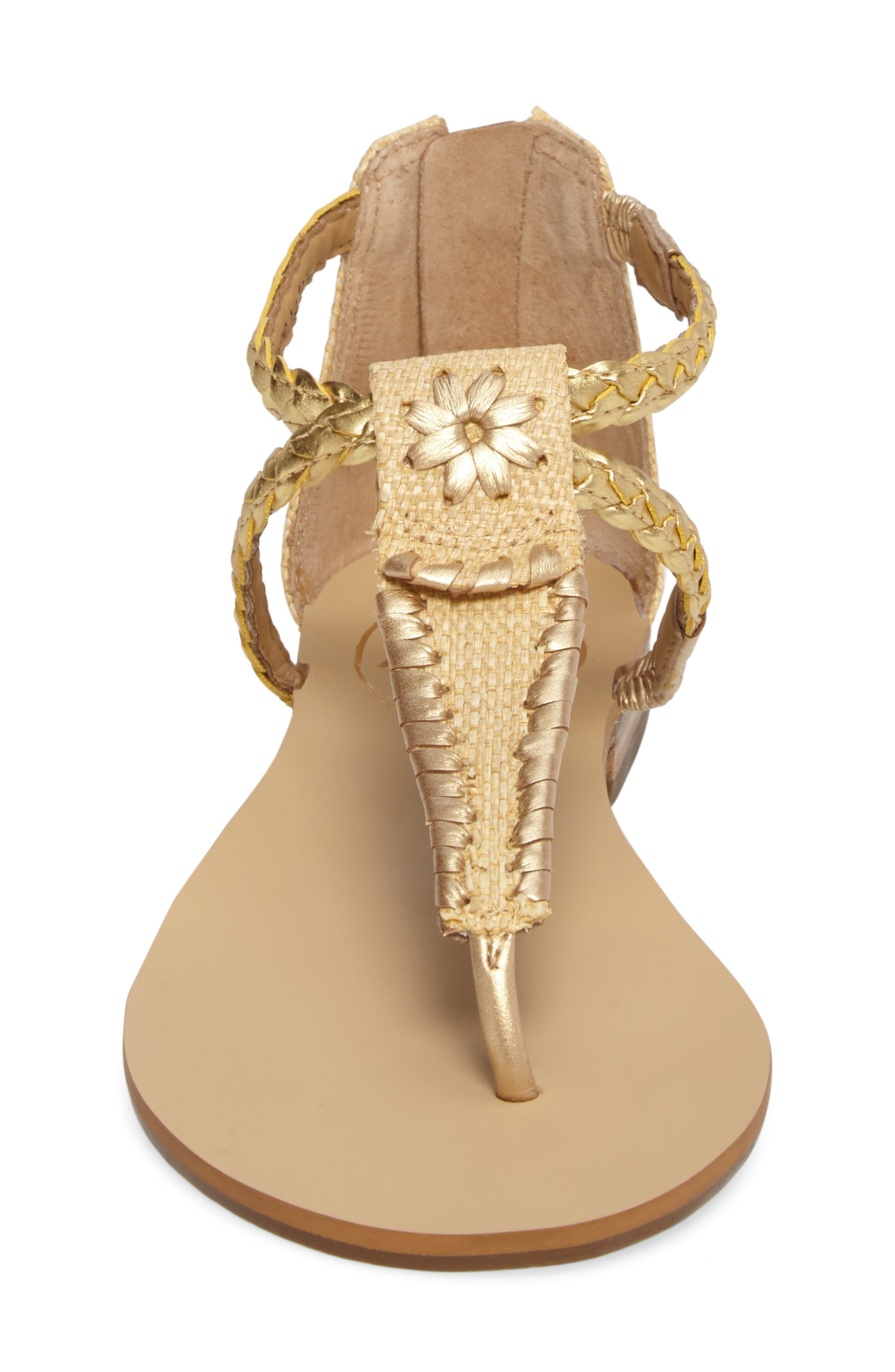 Jenna Sandal,                             Alternate thumbnail 4, color,                             Natural/ Gold Fabric