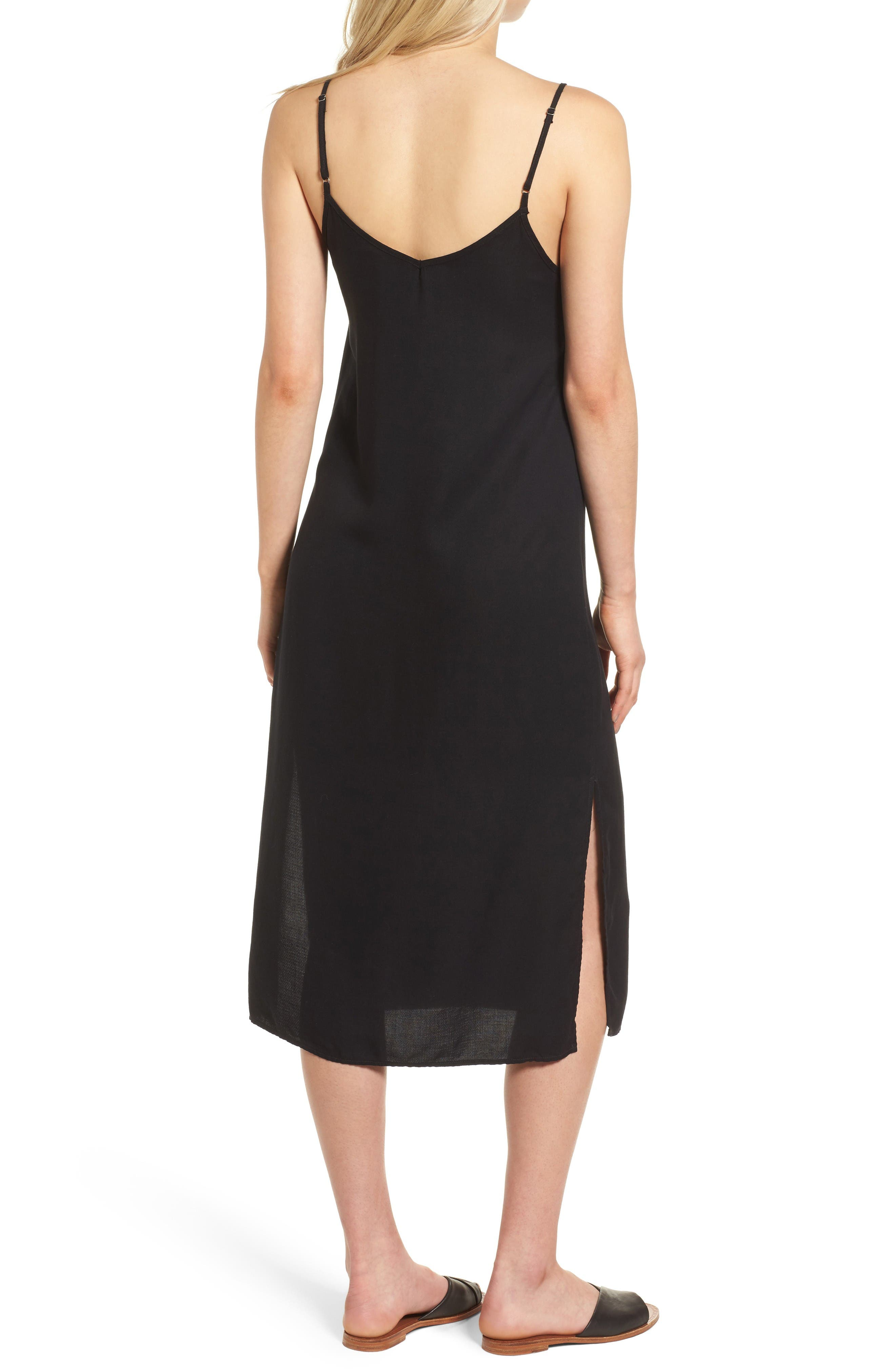 Tank Midi Dress,                             Alternate thumbnail 2, color,                             Black